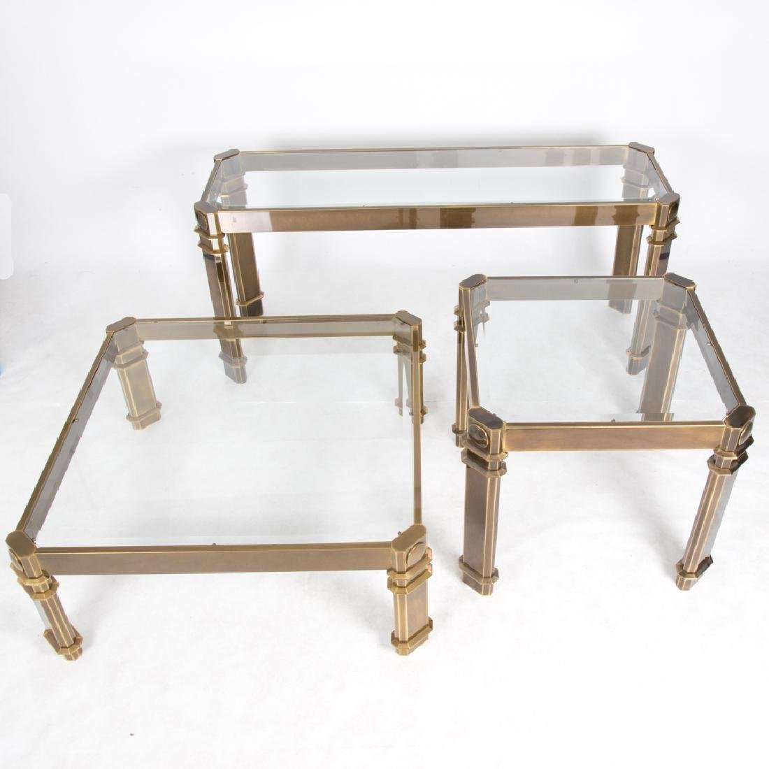 A Group of Three Contemporary Brass and Beveled Glass