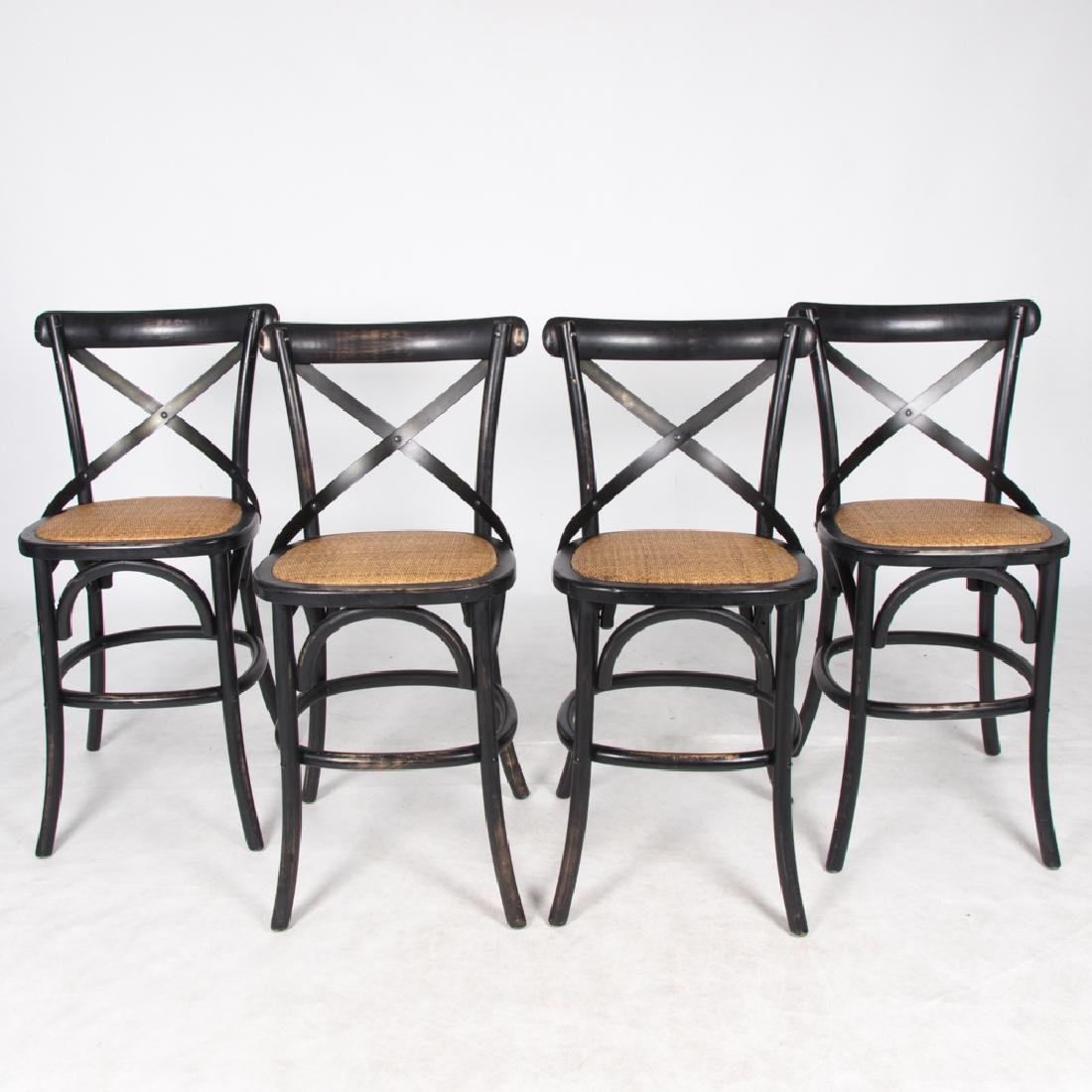 A Group of Four Thonet Style Painted Bentwood and Metal