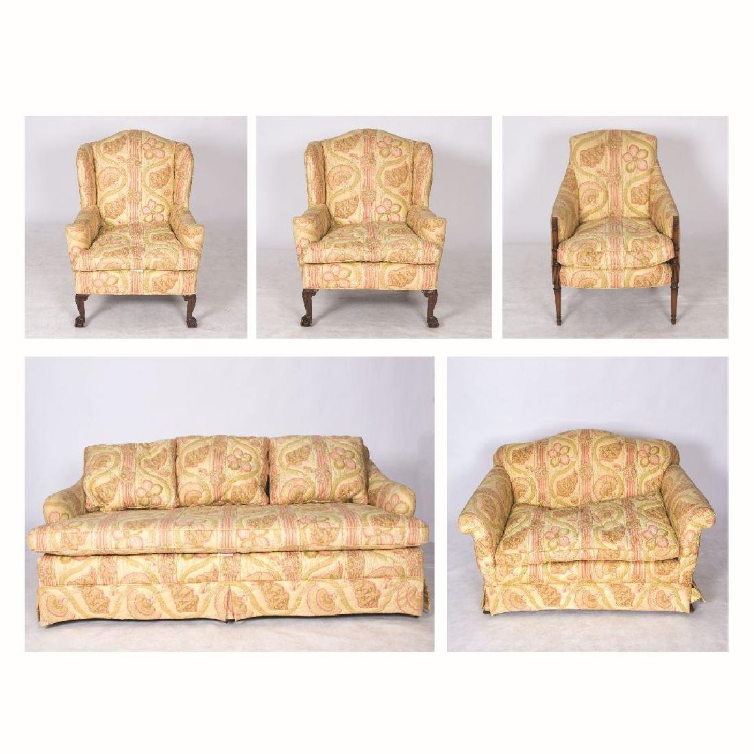 A Five Piece Custom Quilted Upholstered Living Room