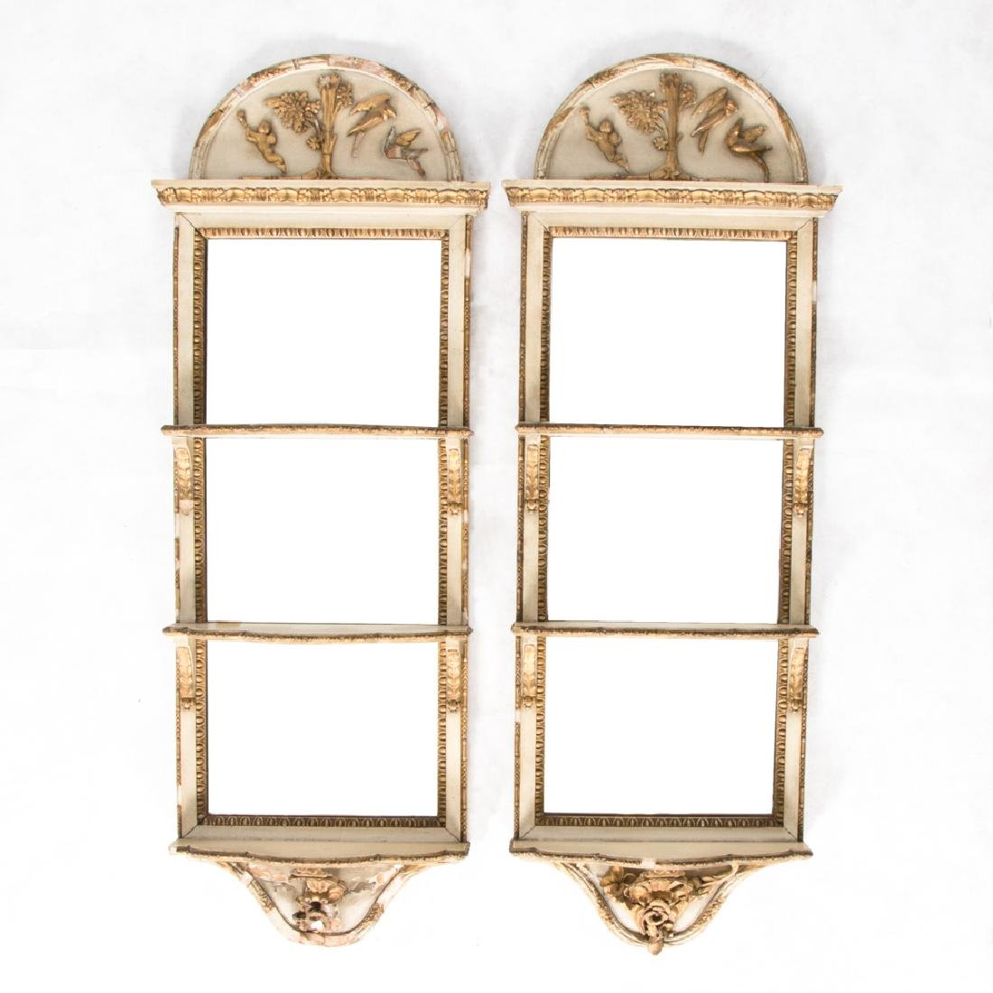 A Pair of Italian Painted and Gilt Mirrored Hanging
