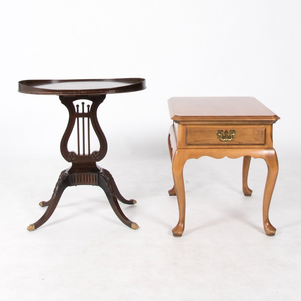 A Harden Queen Anne Style Cherry Side Table,