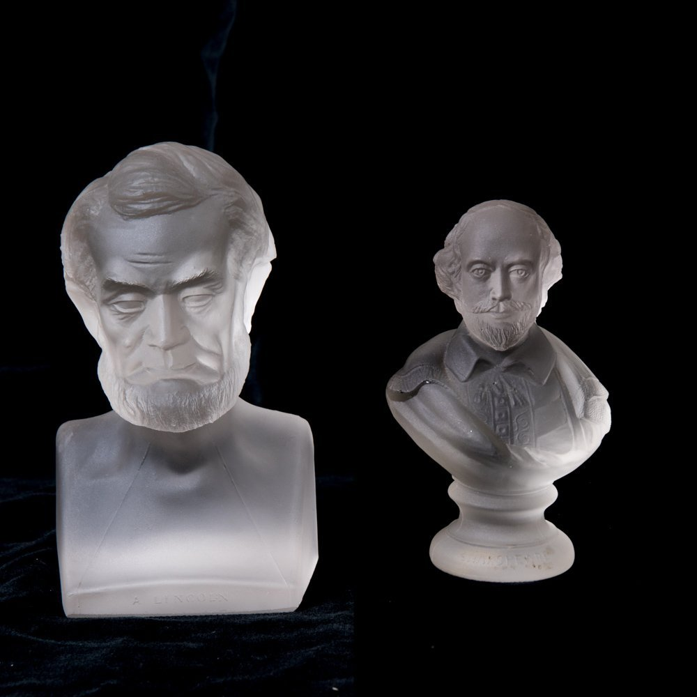 A Gillinders and Sons Frosted Glass Bust of Abraham