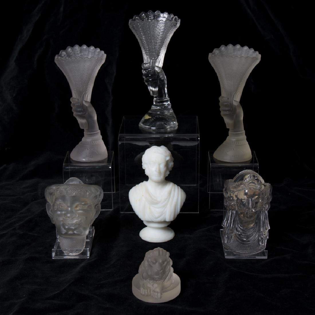 A Group of Seven Frosted, Opaline and Clear Glass
