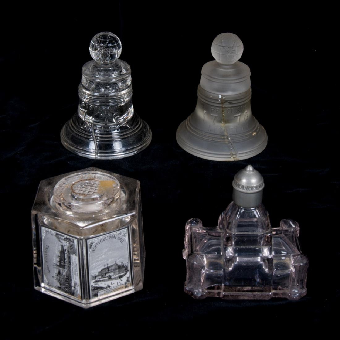 A Group of Four Frosted and Clear Glass Inkwells from