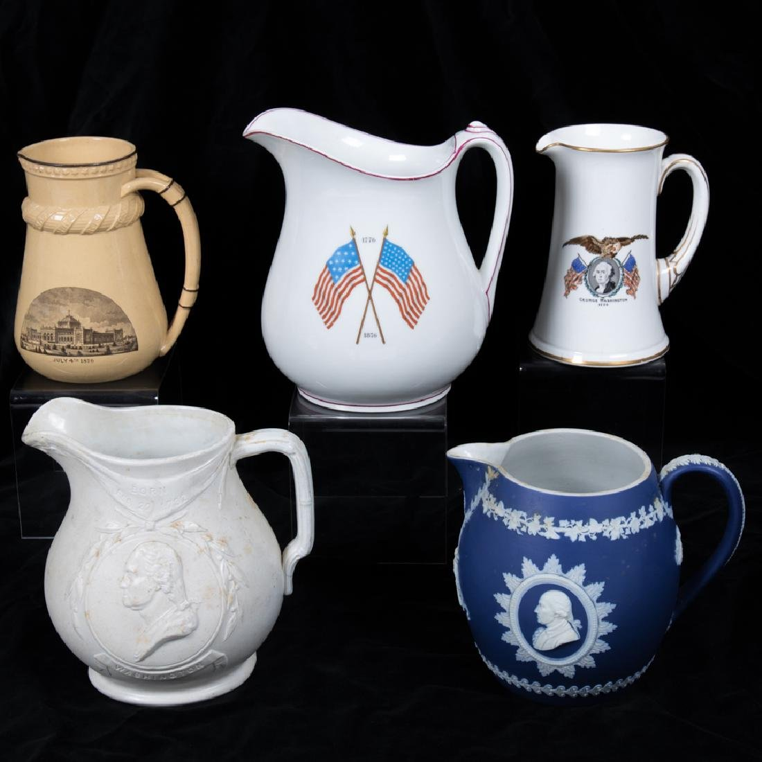 A Group of Five Ceramic Souvenir Pitchers by Various