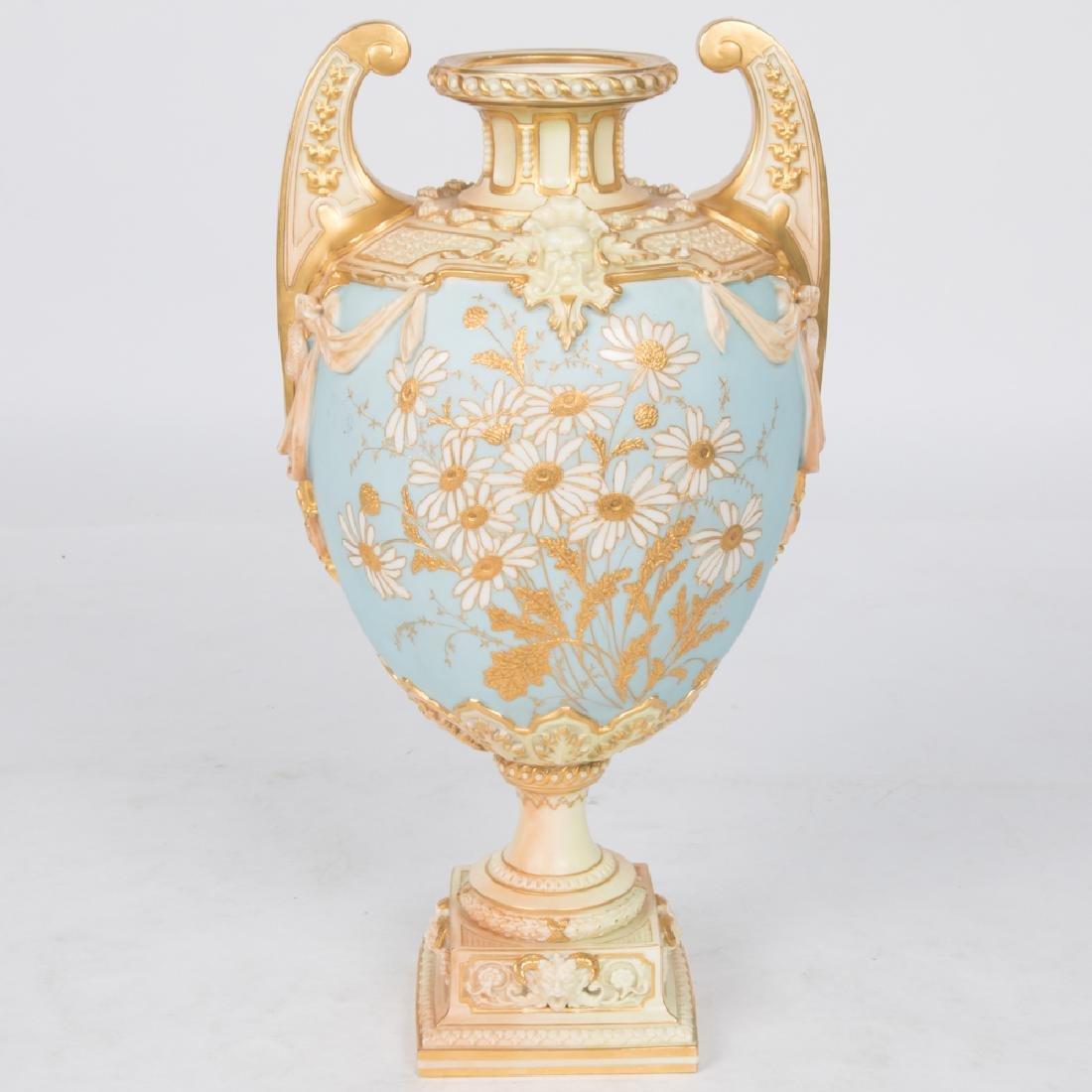 A Large Porcelain Double-Handled Urn Form Vase by Royal