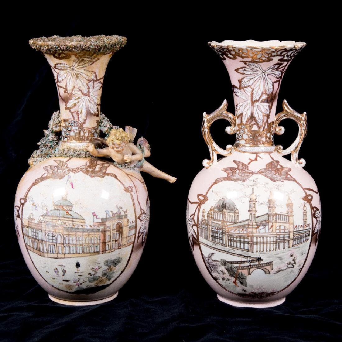 Two Porcelain Vases with Gilt Painted Decoration from