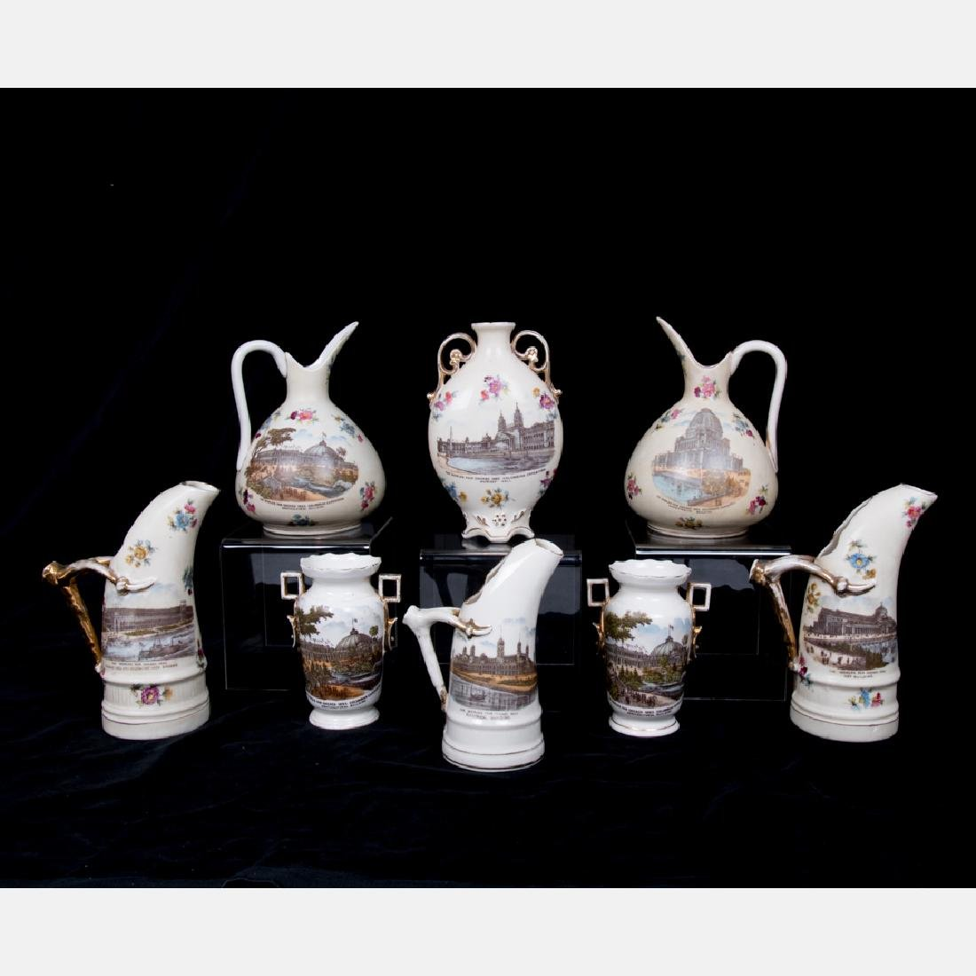 A Group of Eight Austria Transfer Printed Porcelain