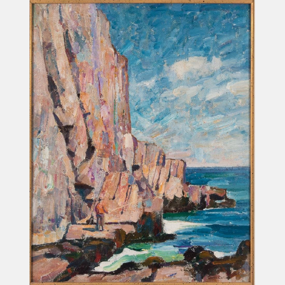 Dines Carlsen (1901-1966) Cliffs, Oil on masonite,