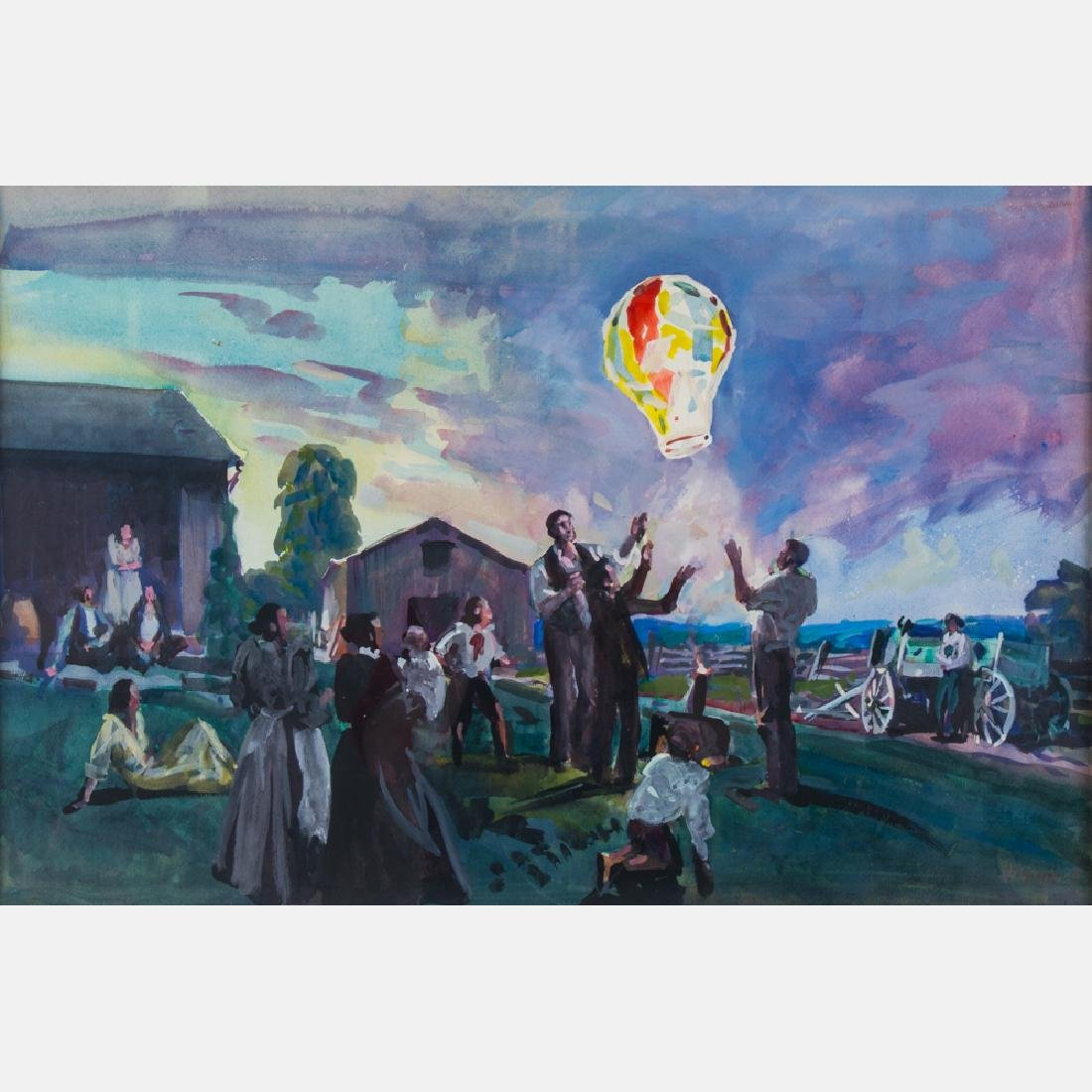 Frank Wilcox (1887-1964) Fire Balloon, Watercolor on