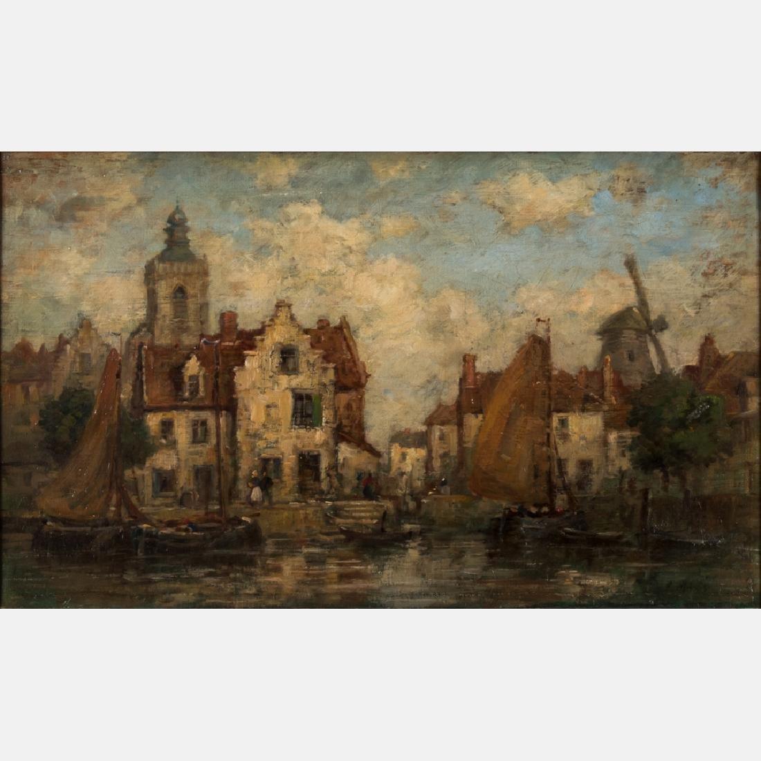 Jacob Henricus Maris (1837-1899) Dutch Canal Scene, Oil
