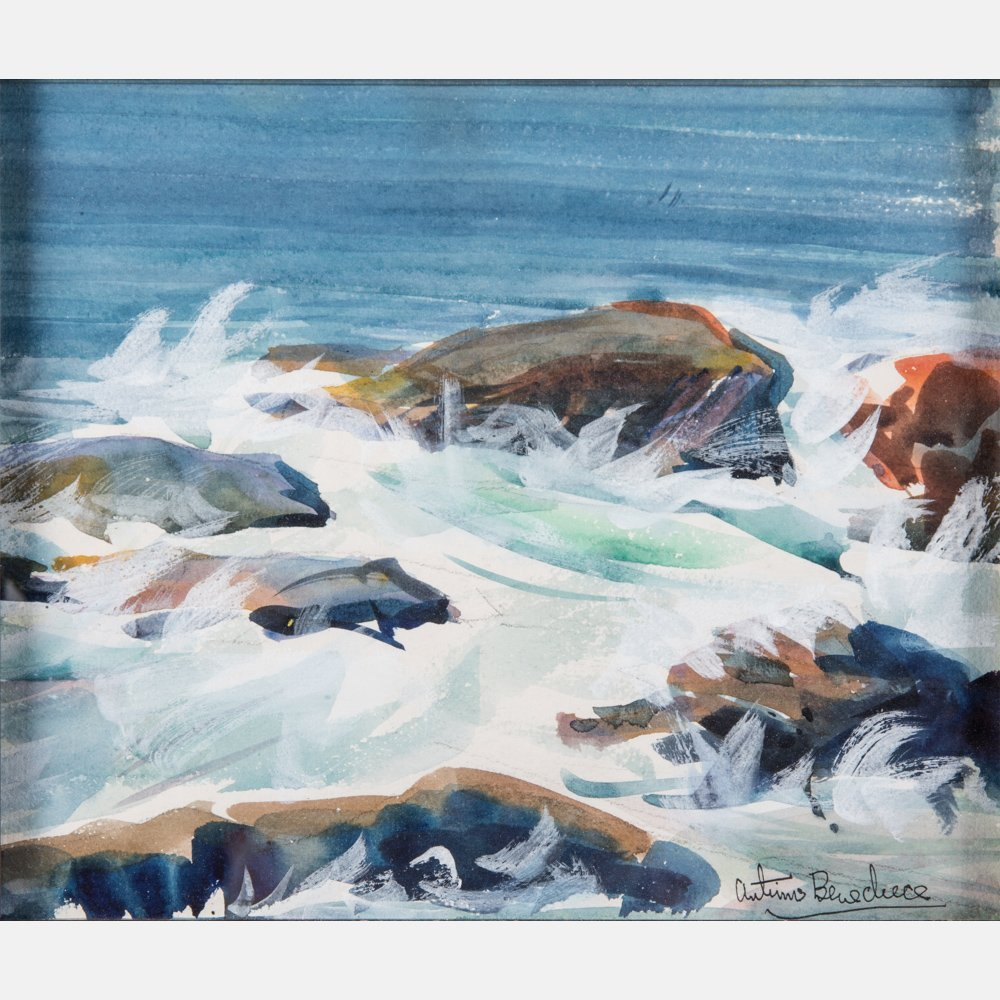 Antimo Beneduce (1900-1977) Rocks and Waves, Watercolor