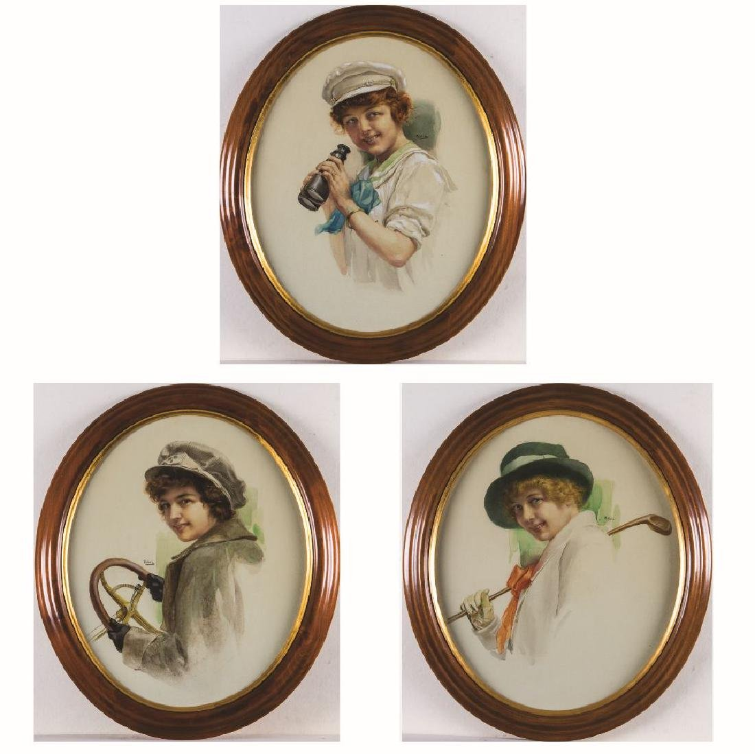 A Group of Three Watercolor Portraits Depicting