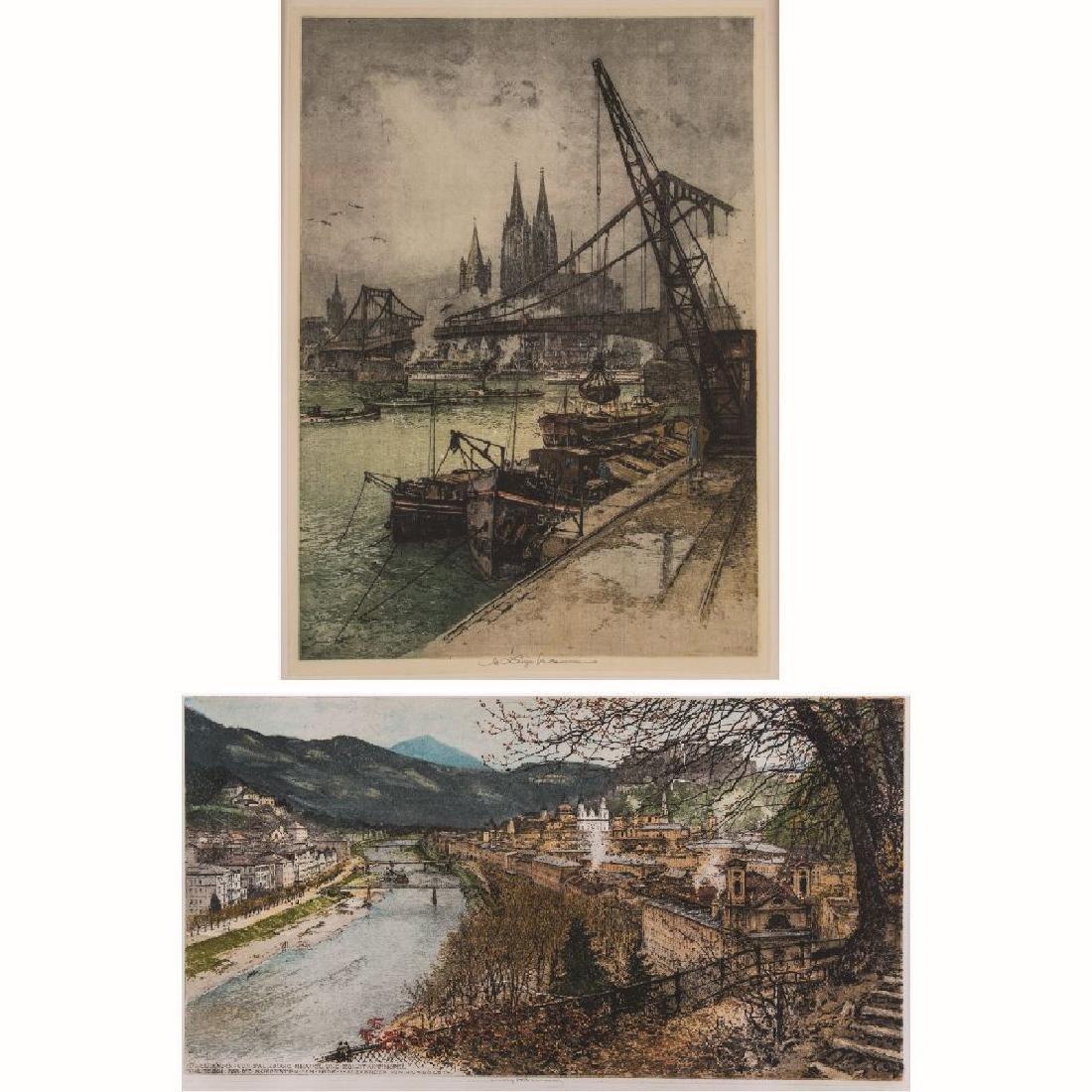 Luigi Kasimir (1881-1962) 'Cologne' and 'Salzburg', Two