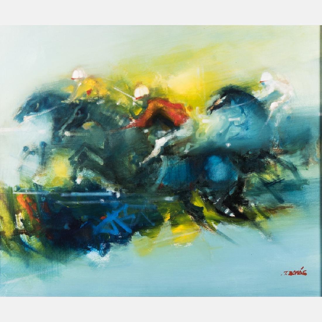 Jordi Bonas (b. 1937) Horse Race, Oil on canvas,