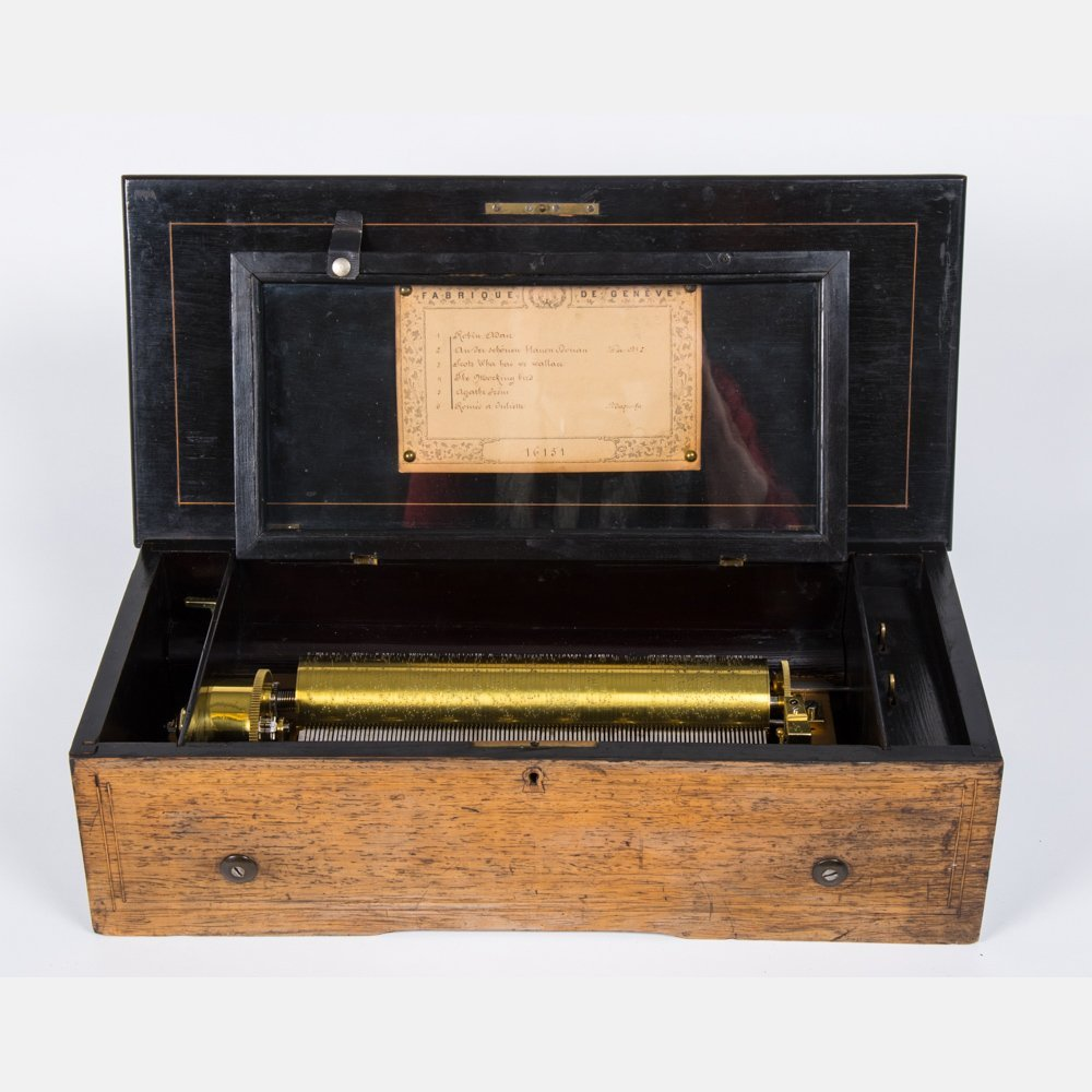 A Fabrique de Geneve Rosewood and Brass Cylinder Music