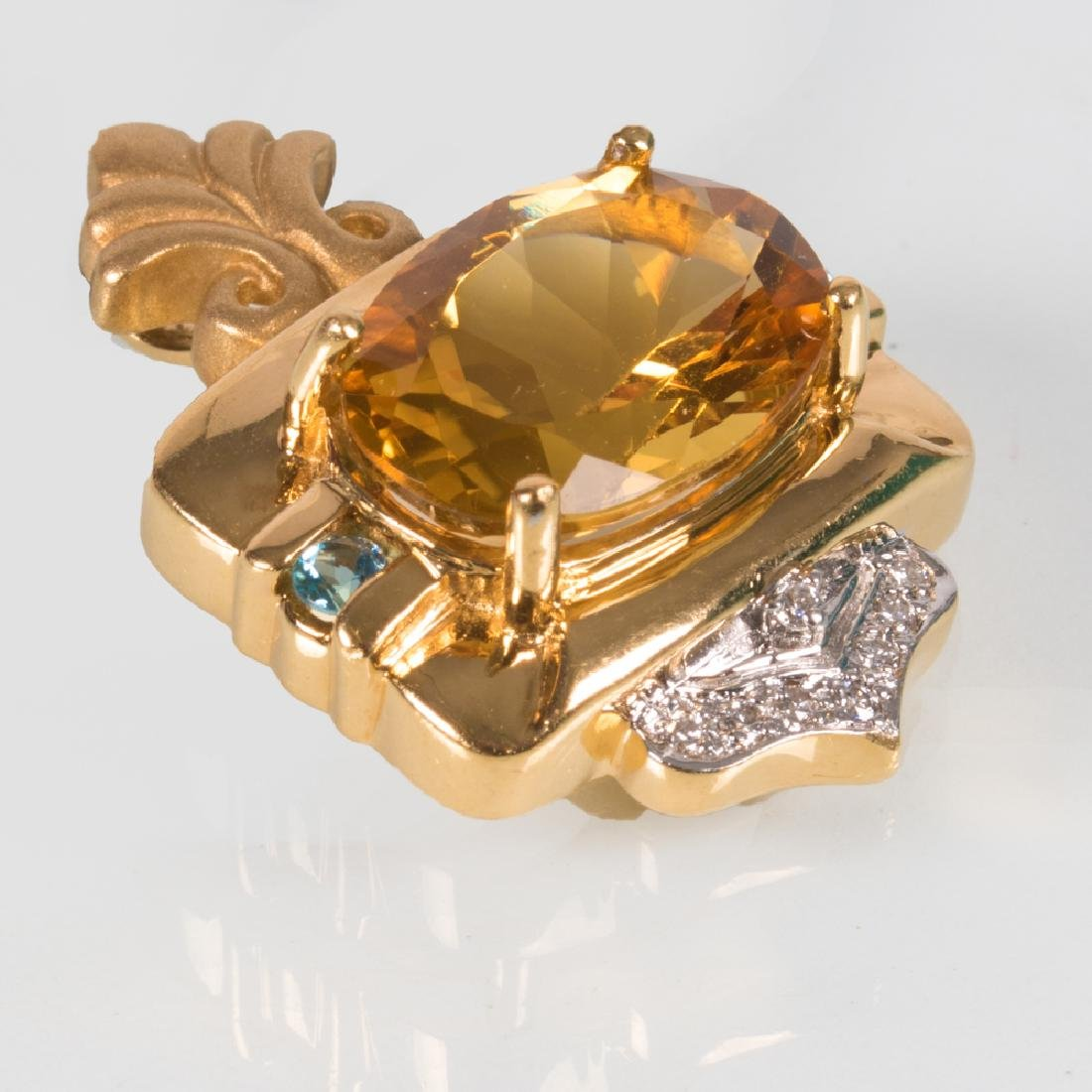 A 14kt Yellow and White Gold Citrine and Diamond