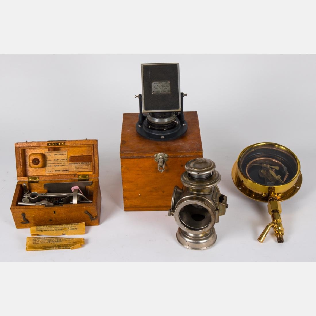 A Collection of Vintage Brass, Metal and Wood Equipment