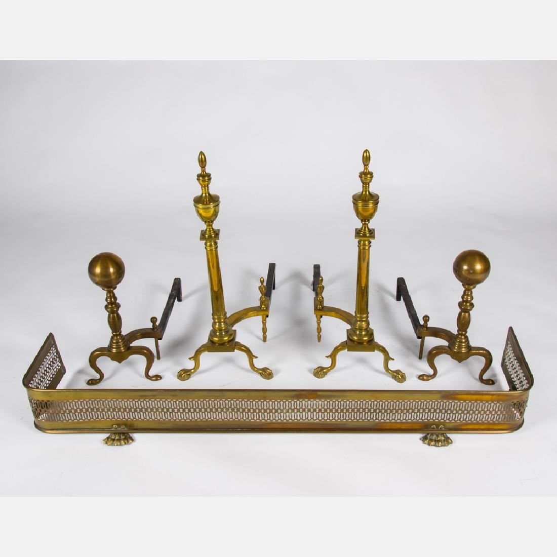 Two Pairs of Georgian Style Brass Andirons, 20th
