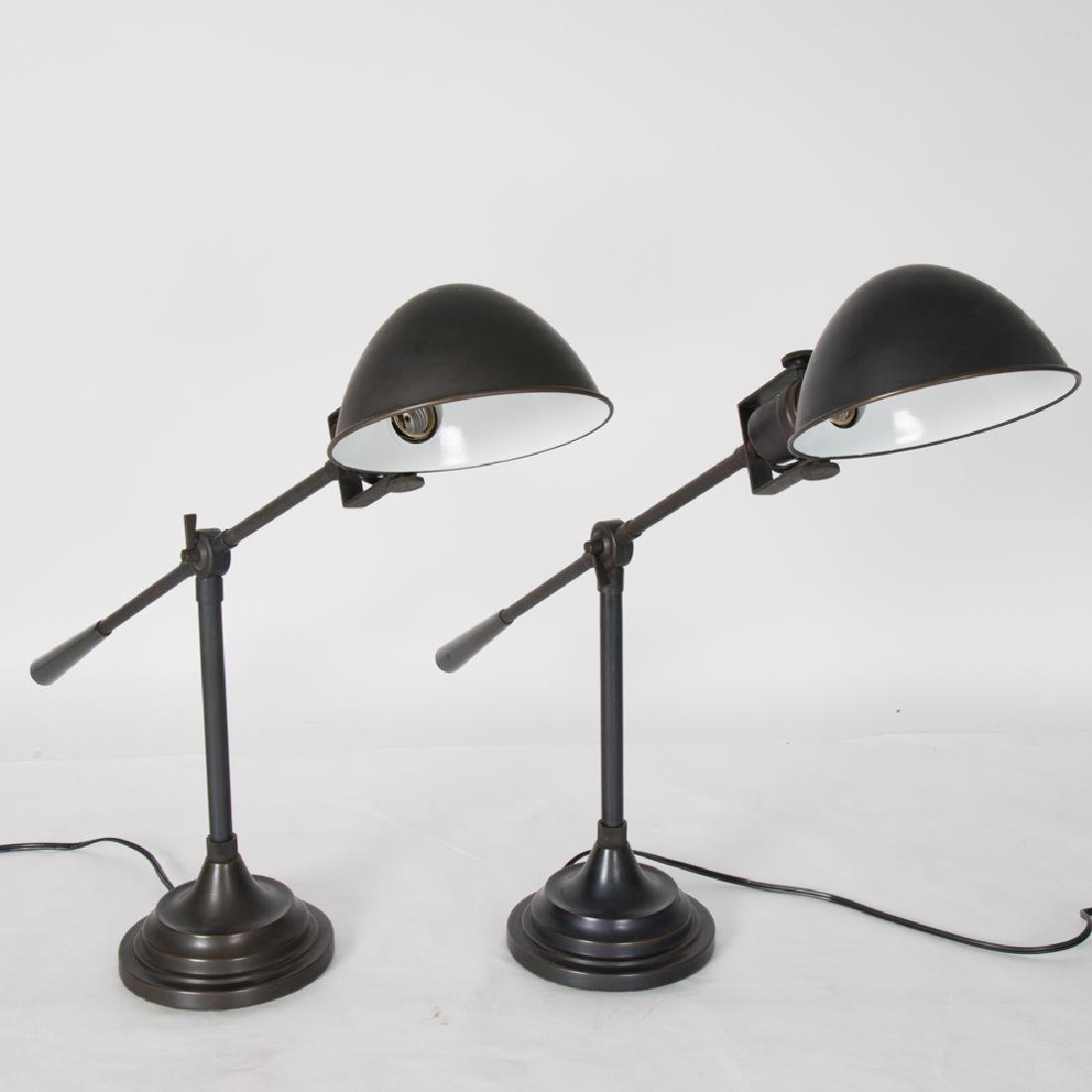 A Pair of Brass Student Lamps, 20th Century.