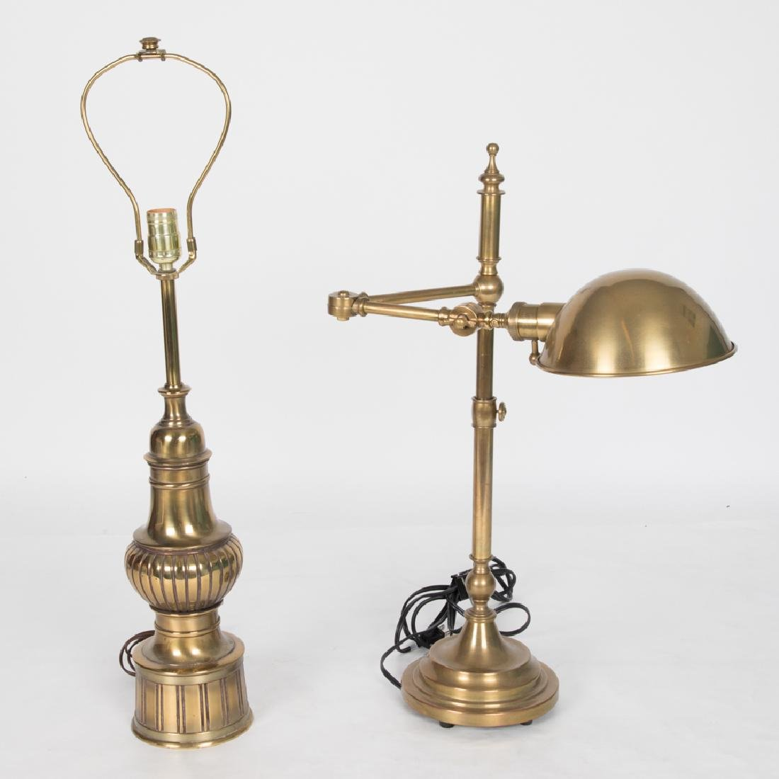 Two Contemporary Brass Table Lamps, 20th Century.