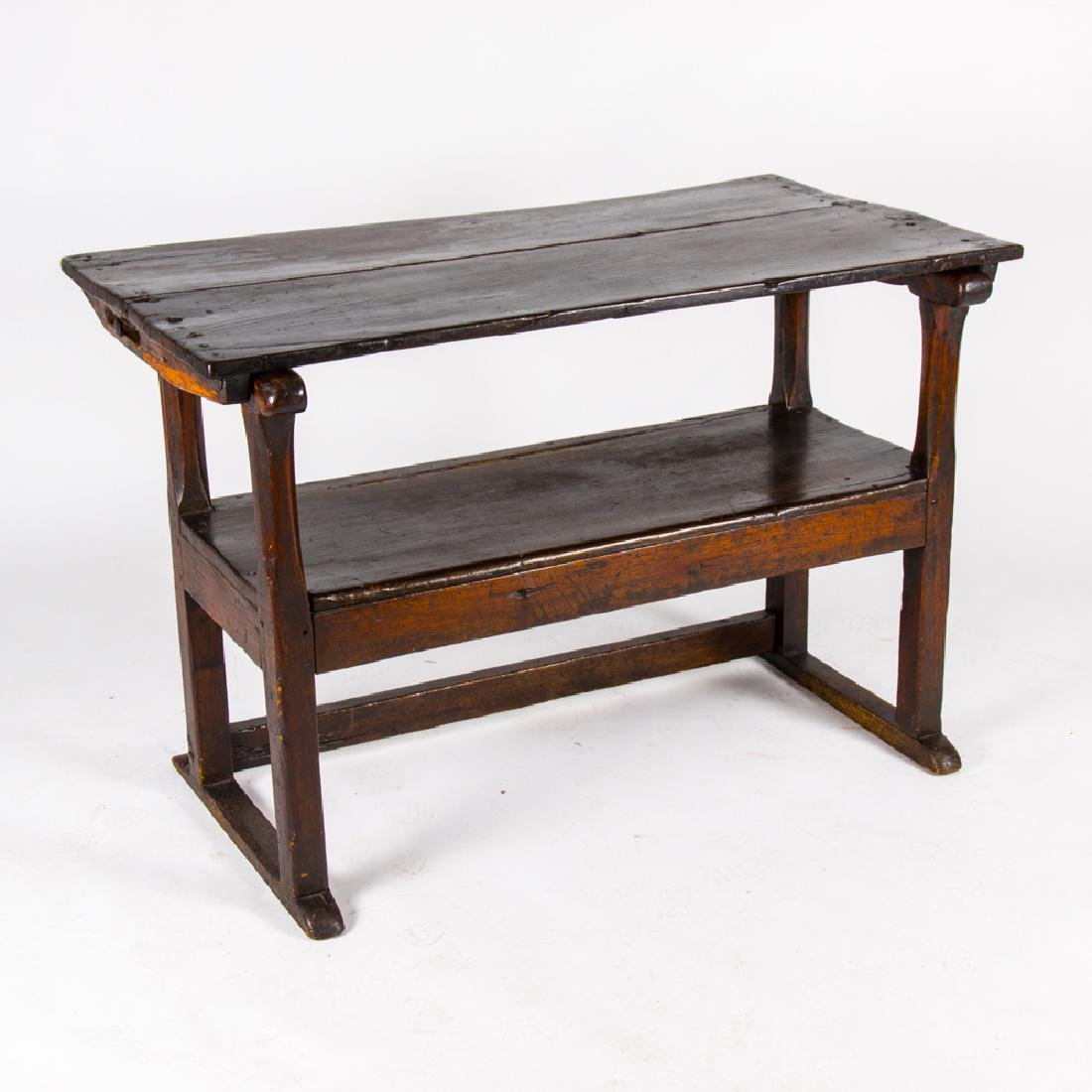 An English Oak Transforming Table to Bench, 18th
