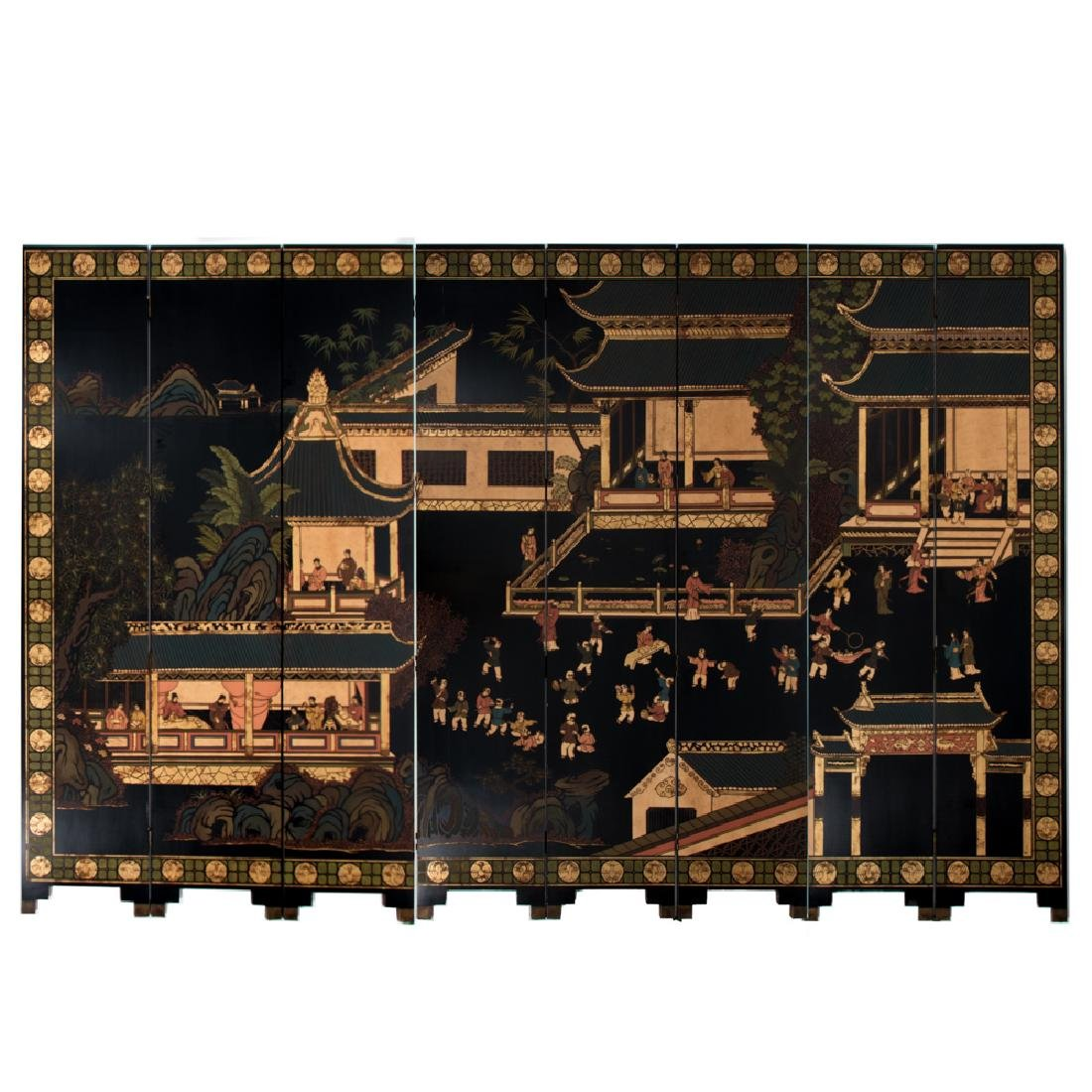 A Chinese Eight Panel Lacquered Floor Screen, 20th
