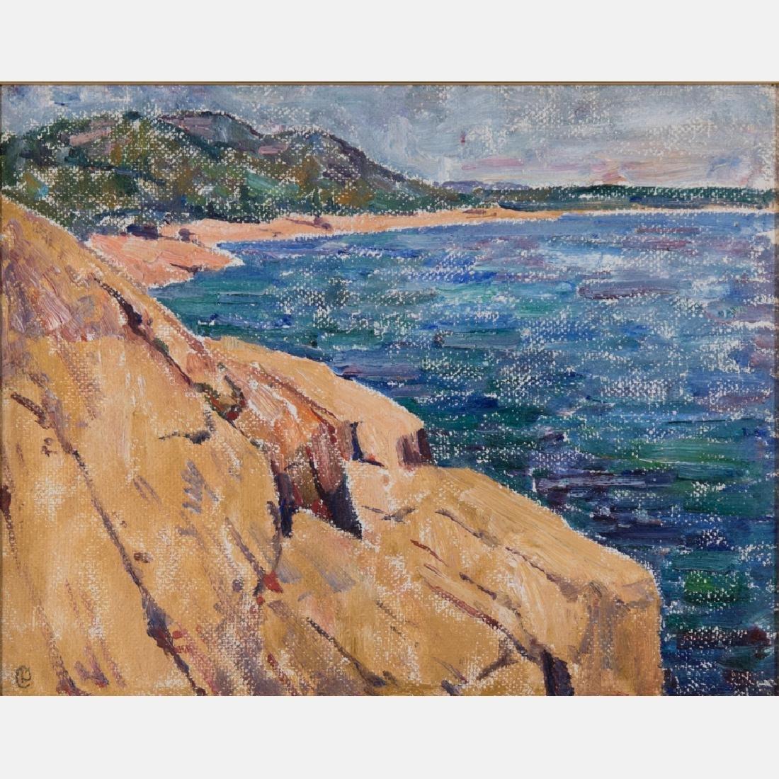 Dines Carlsen (1901-1966) Coastal Scene, Oil on