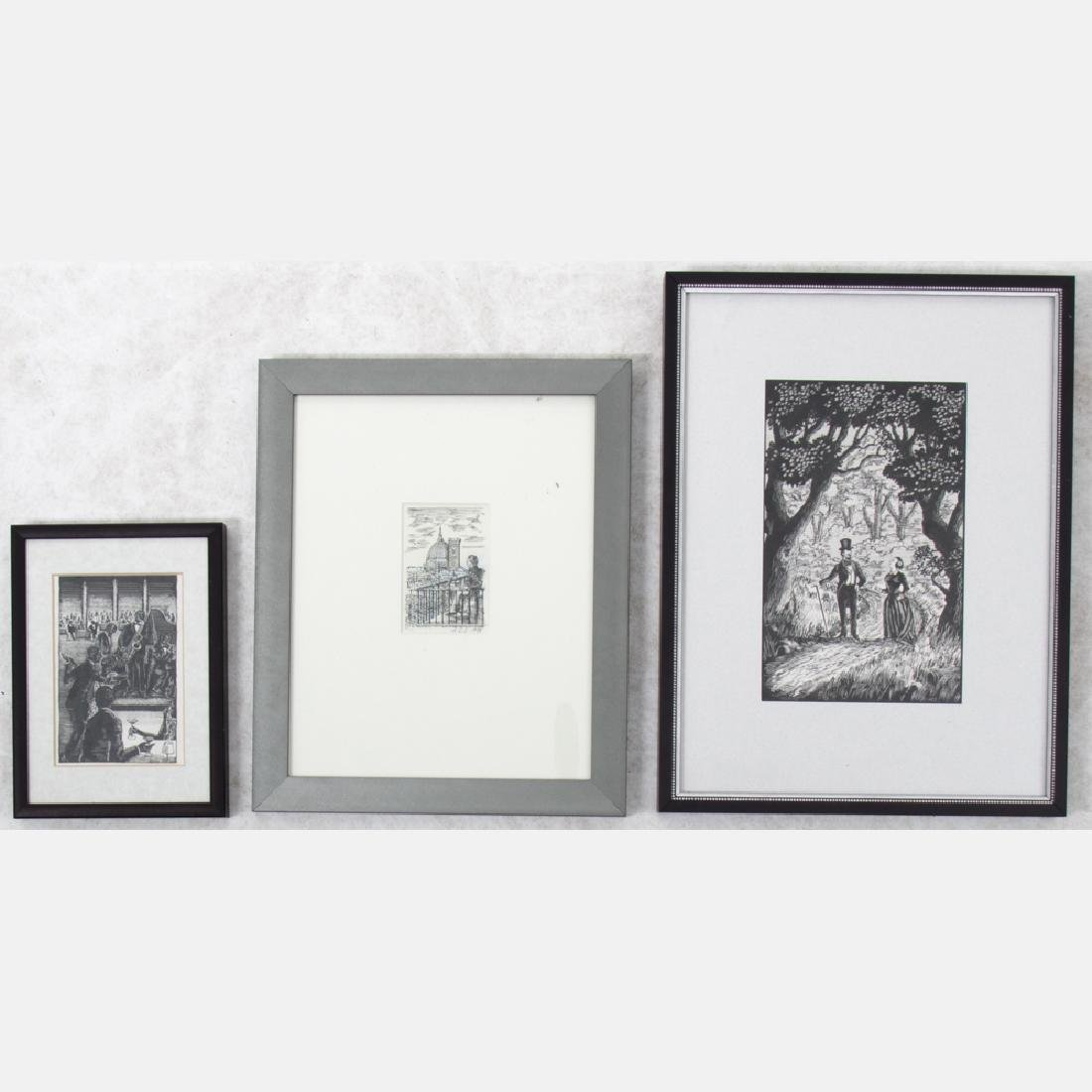 A Group of Three Framed Ink Scratchboard Drawings by