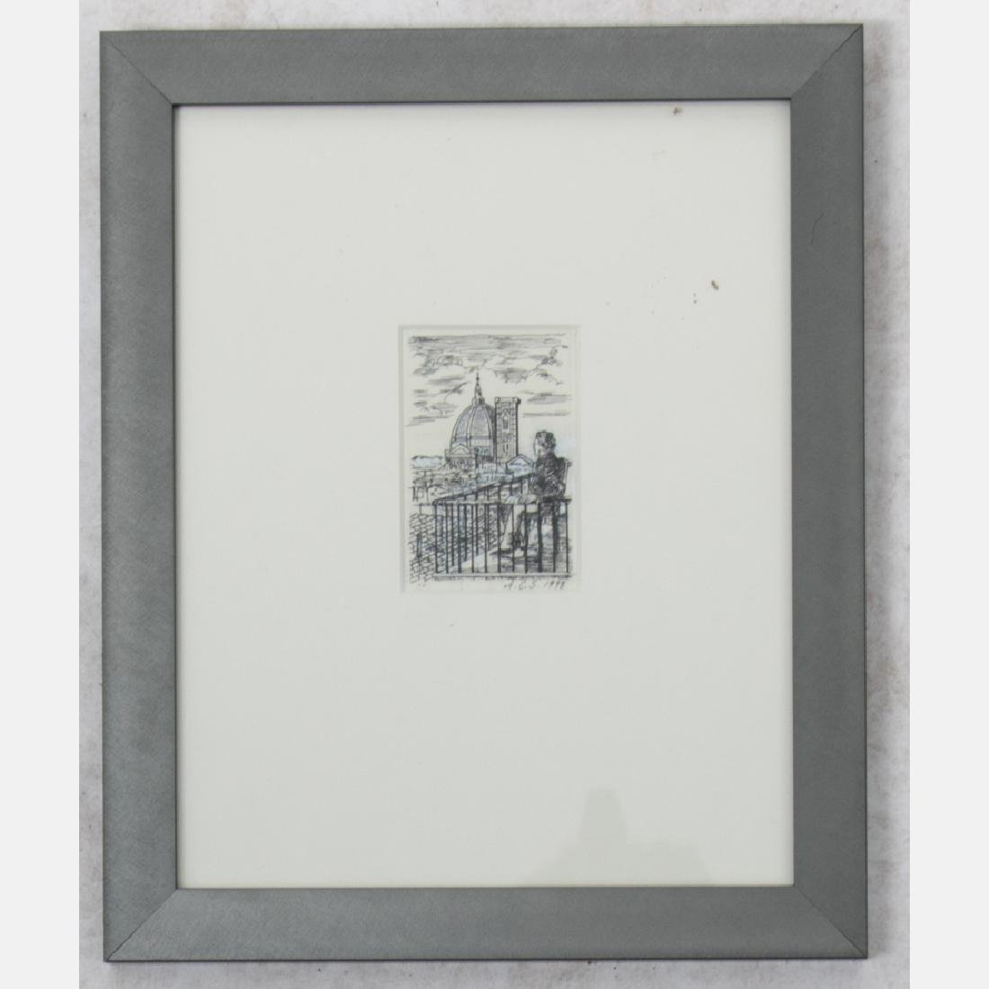 A Group of Three Framed Ink Scratchboard Drawings by - 7