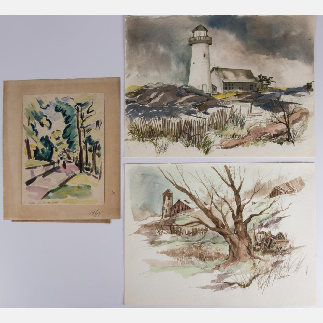 A Miscellaneous Collection of Watercolors on Paper By