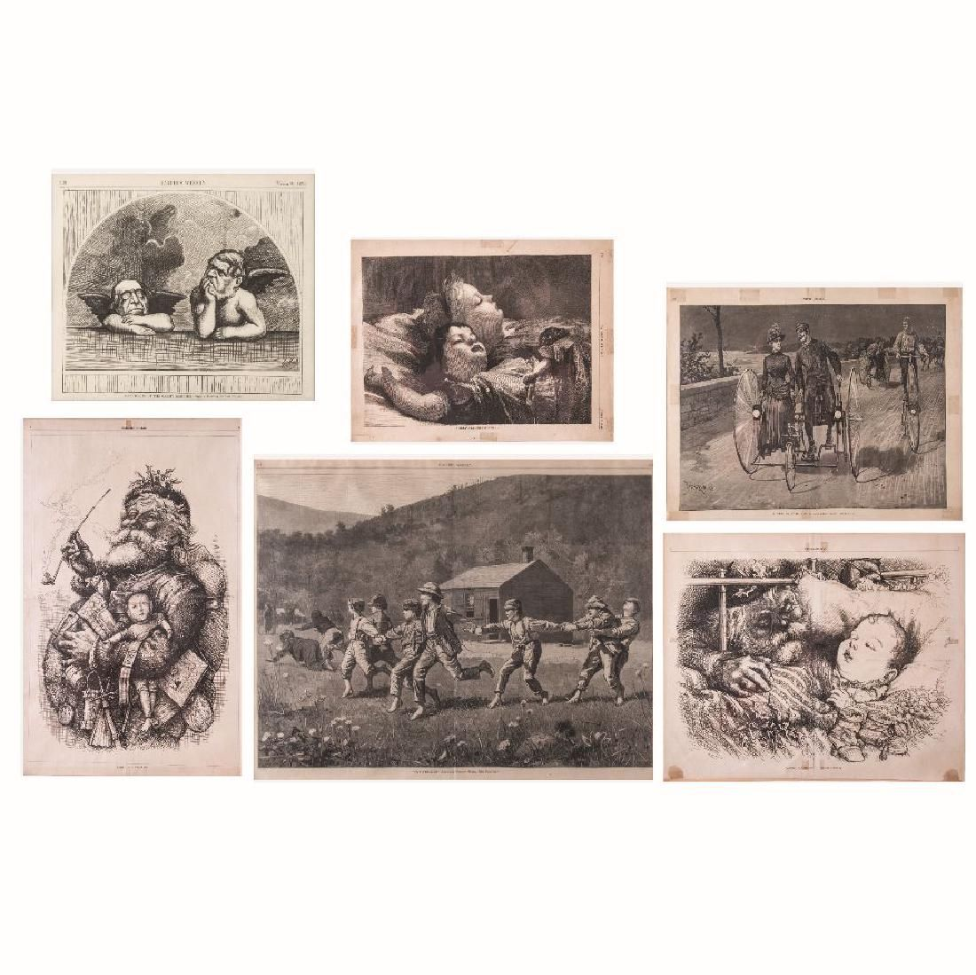 A Group of Six Framed and Unframed Harper's Weekly