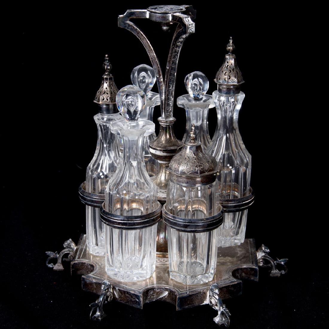 A Silverplated and Glass Cruet Set, 20th Century. - 2