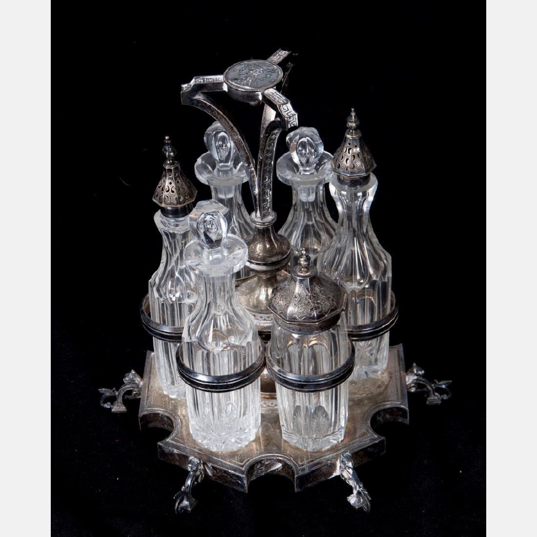 A Silverplated and Glass Cruet Set, 20th Century. - 3