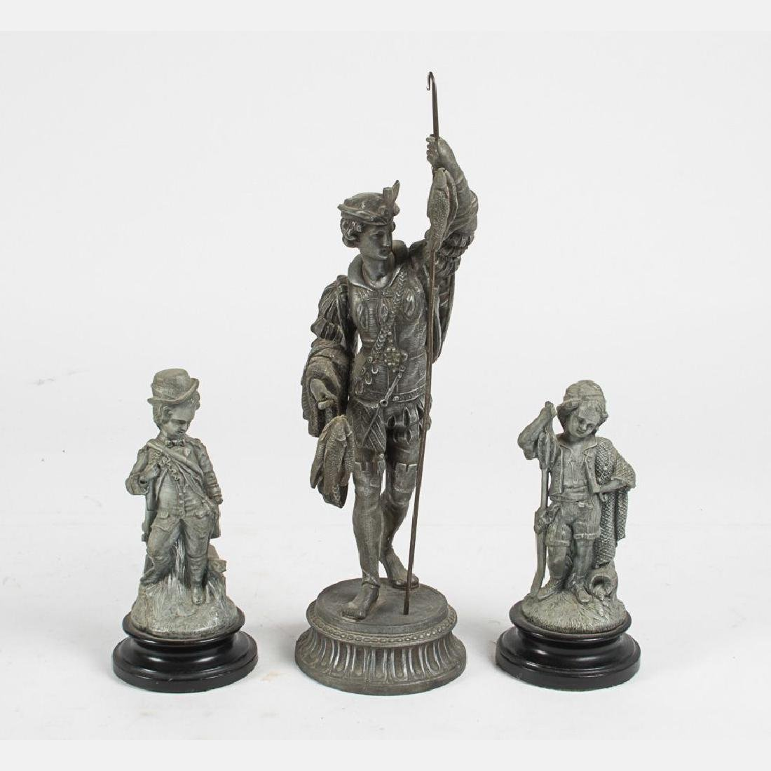 A Group of Three Spelter Figures, 20th Century.