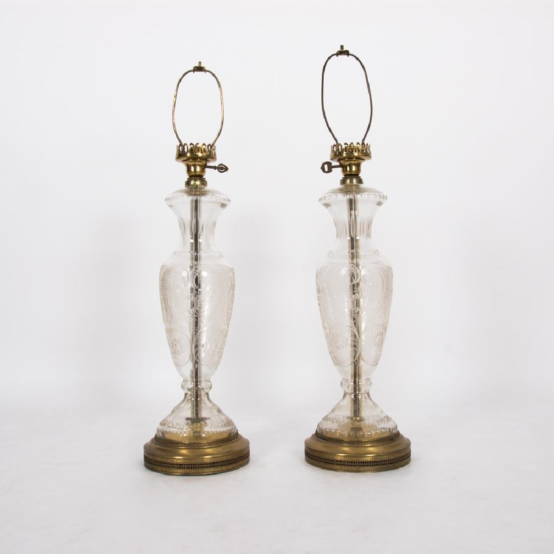 A Pair of Electrified Cut Glass Table Lamps, 20th