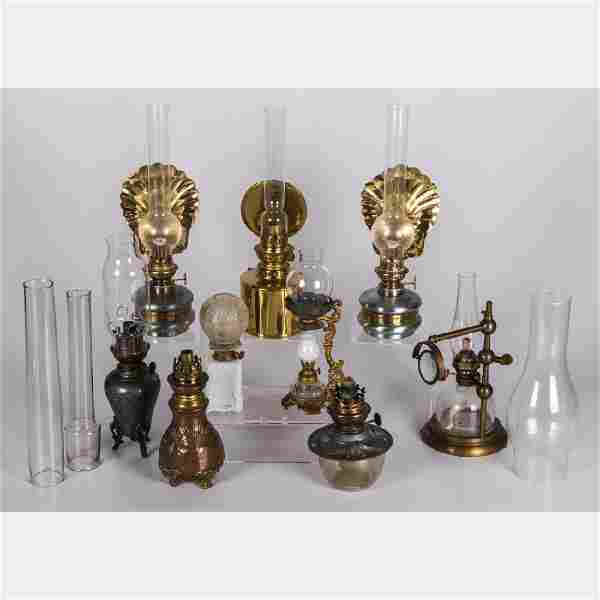 A Miscellaneous Collection of Brass and Glass Oil