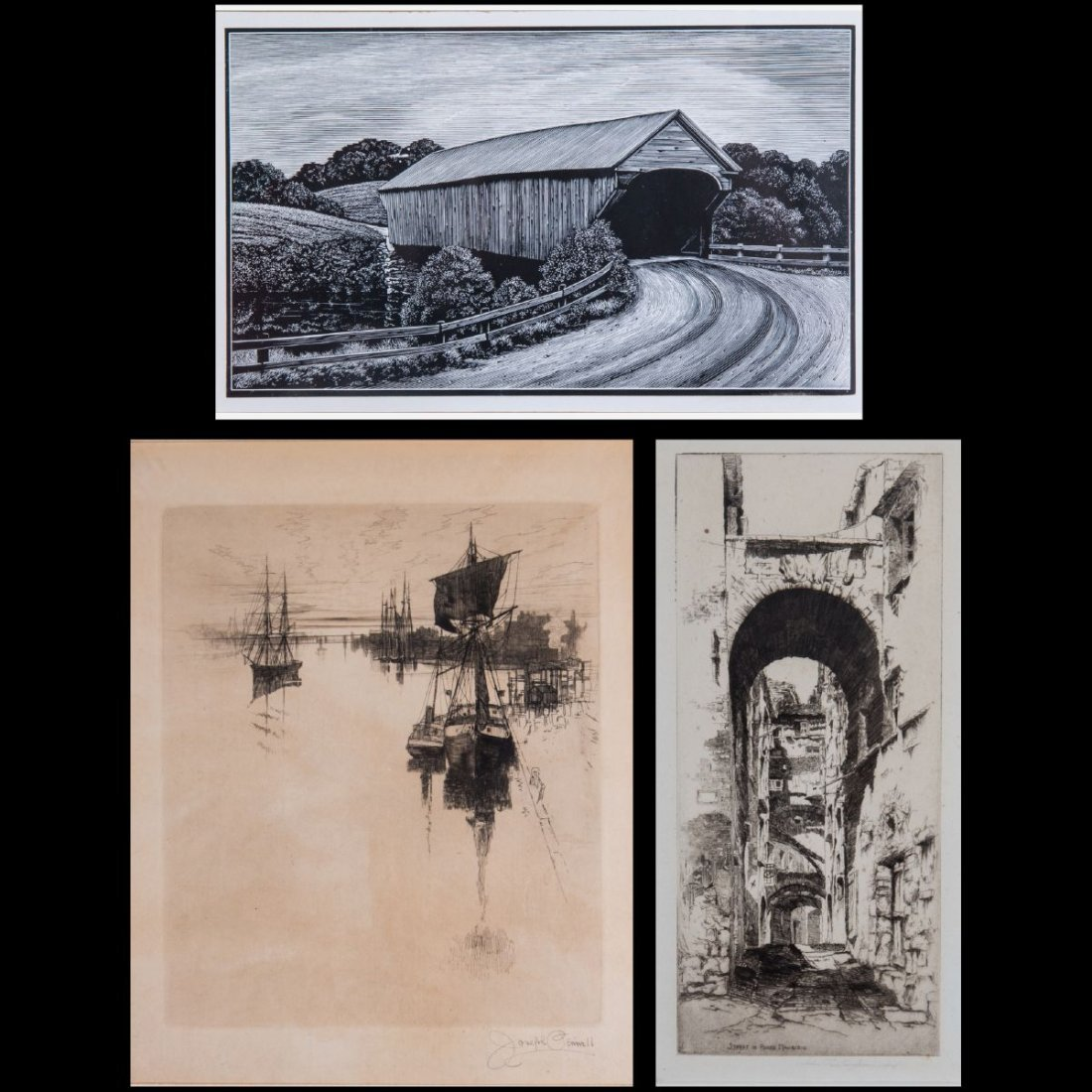 A Group of Three Framed Etchings and Woodcut