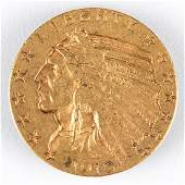 A 1910 5 US Indian Head Half Eagle Gold Coin