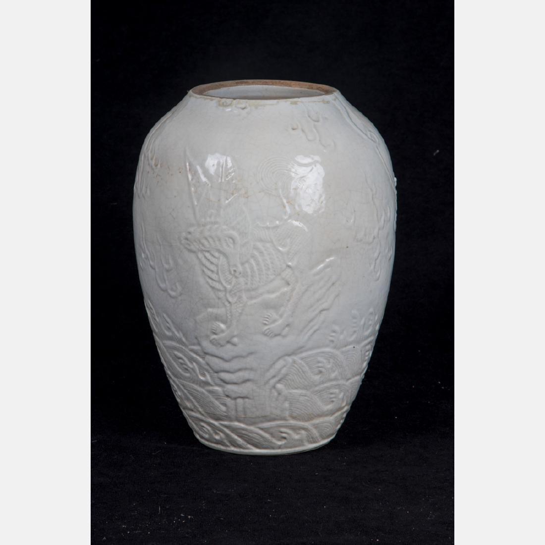 A Chinese Porcelain Blanc de Chine Vase, 20th Century,