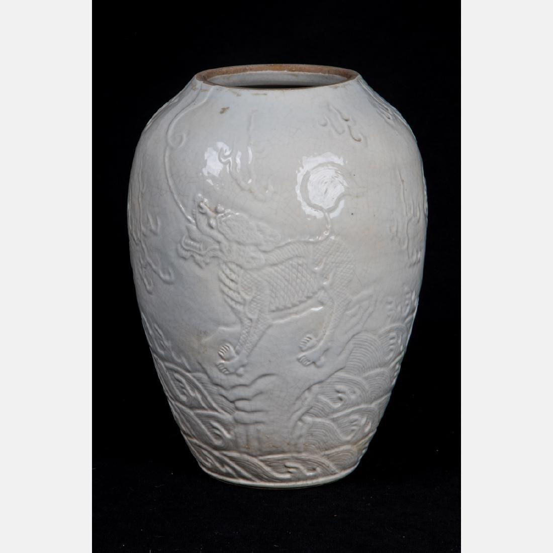 A Chinese Porcelain Blanc de Chine Vase, 20th Century, - 3