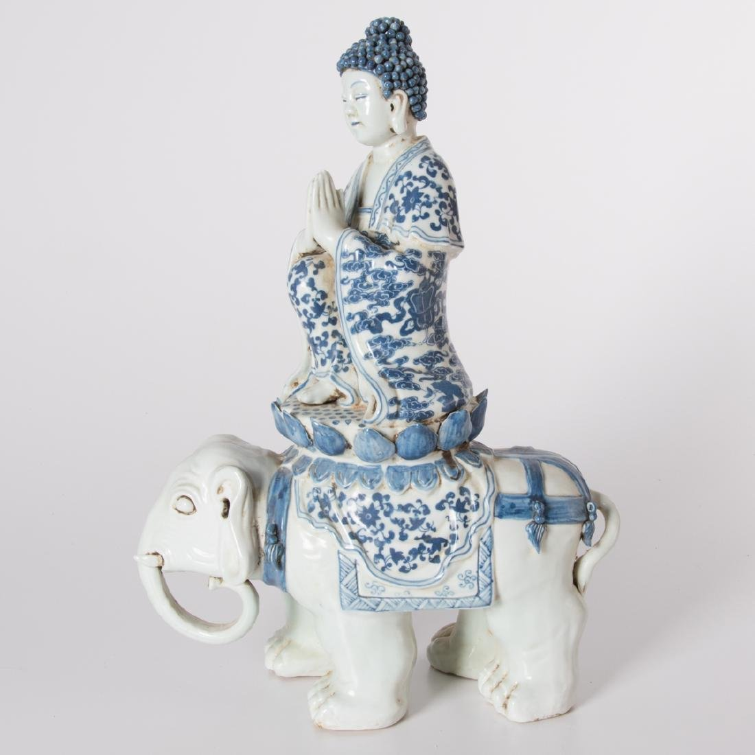 A Chinese Blue and White Porcelain Figure of Buddha on
