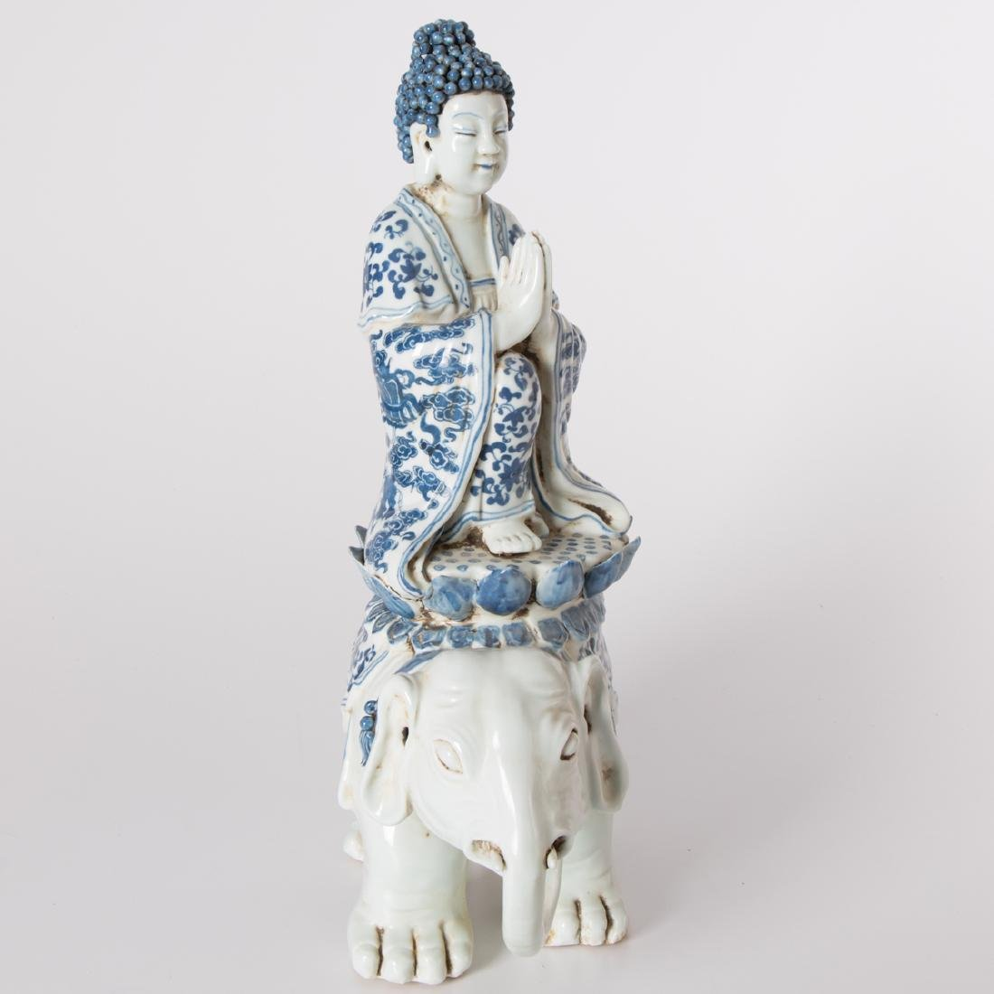 A Chinese Blue and White Porcelain Figure of Buddha on - 2