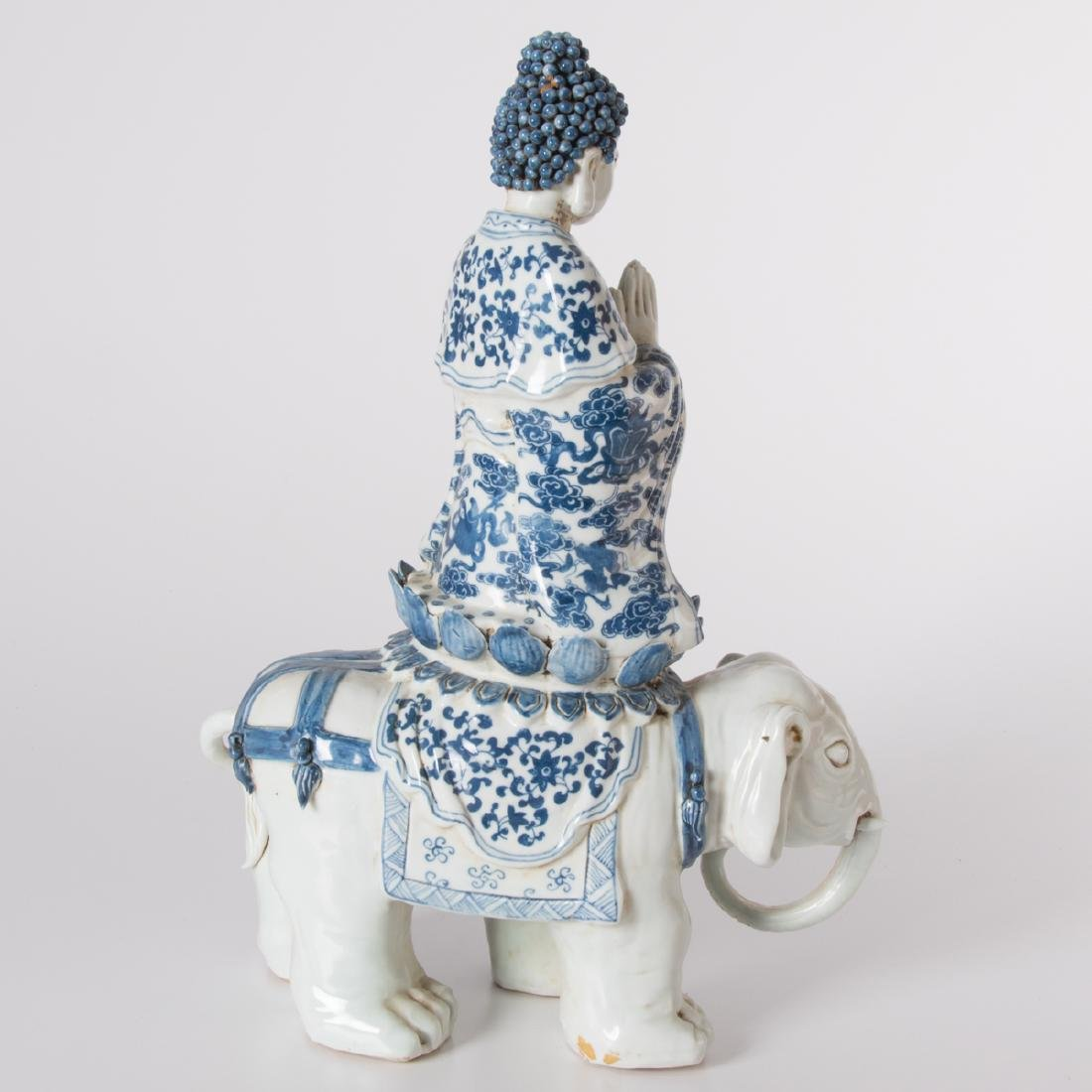 A Chinese Blue and White Porcelain Figure of Buddha on - 3