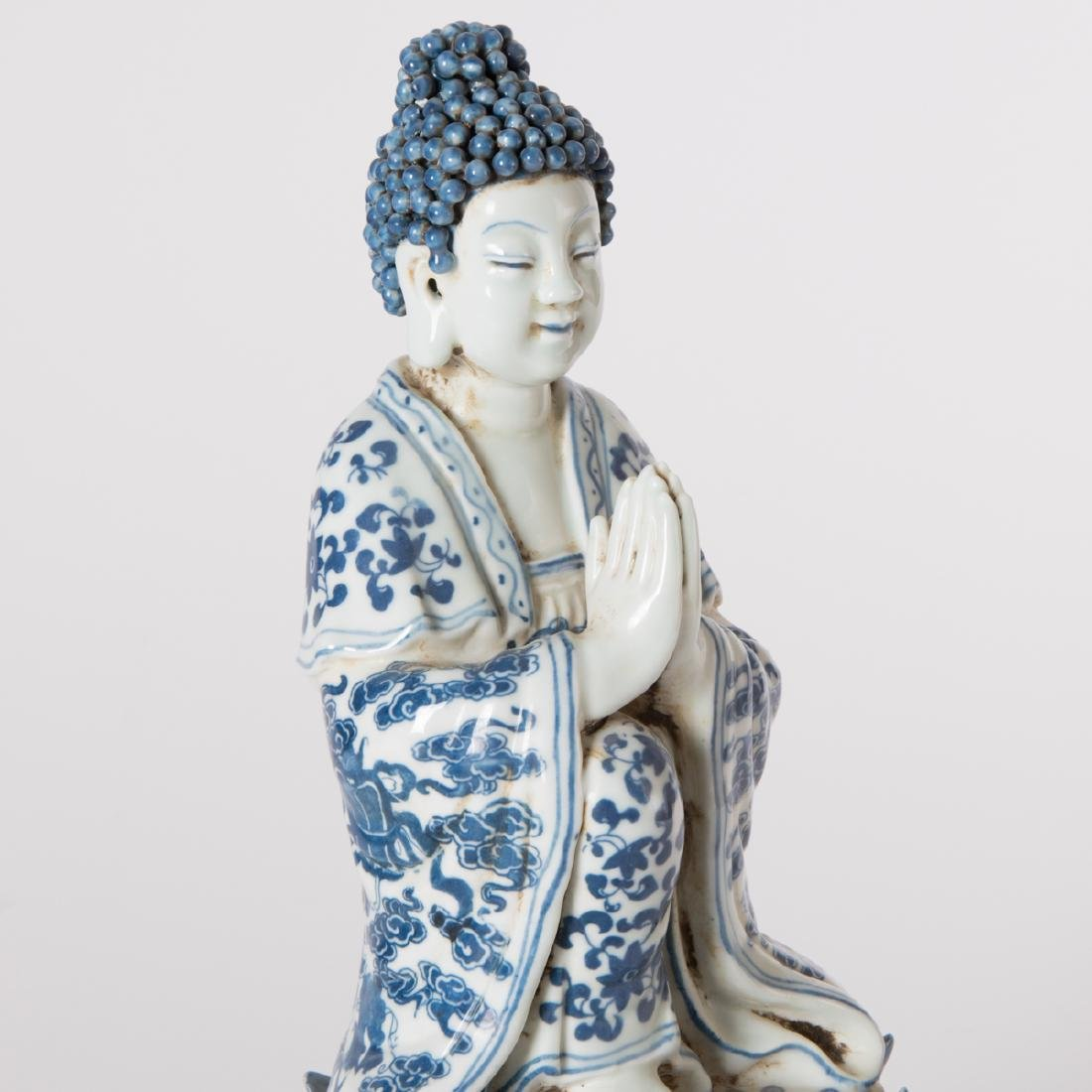 A Chinese Blue and White Porcelain Figure of Buddha on - 4