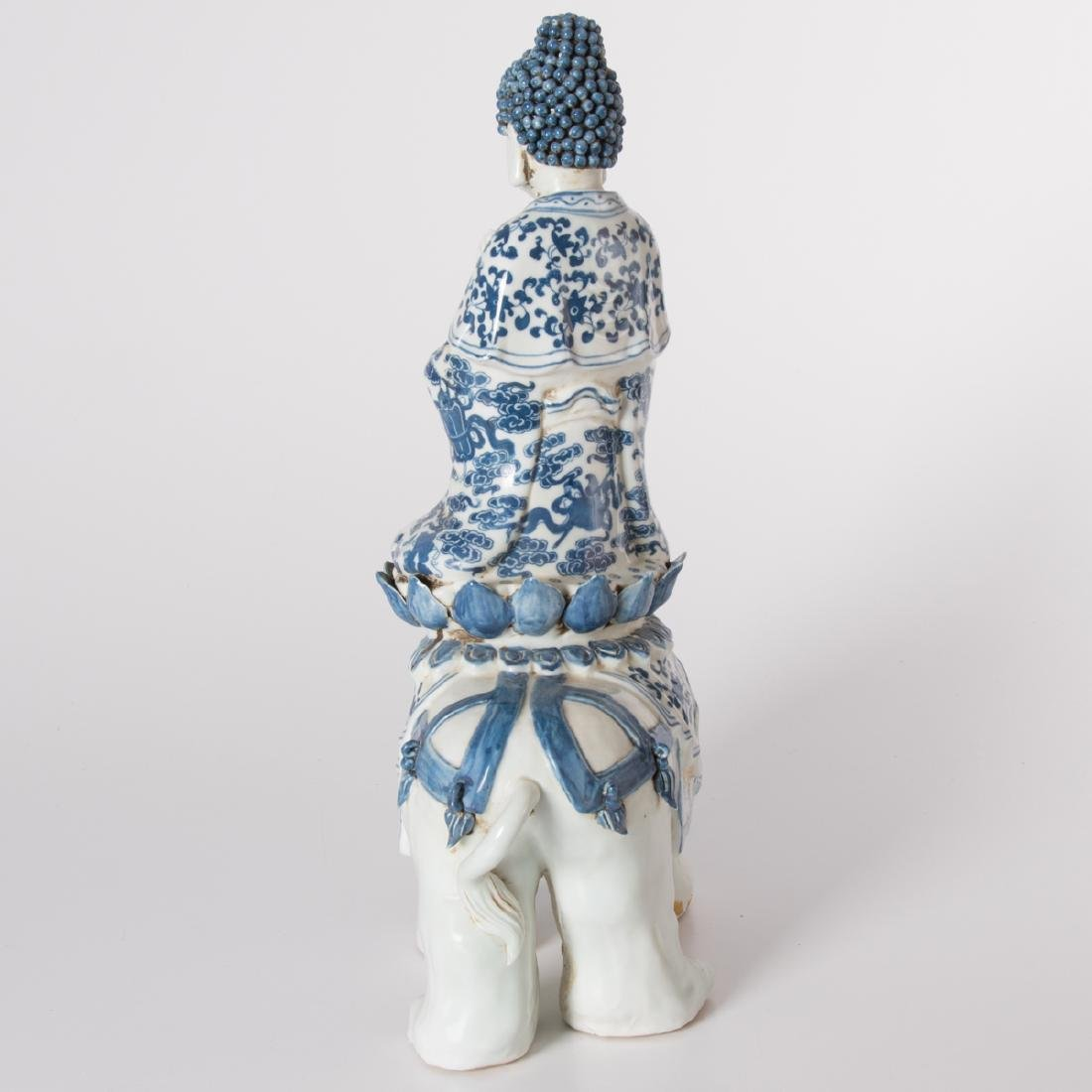A Chinese Blue and White Porcelain Figure of Buddha on - 5