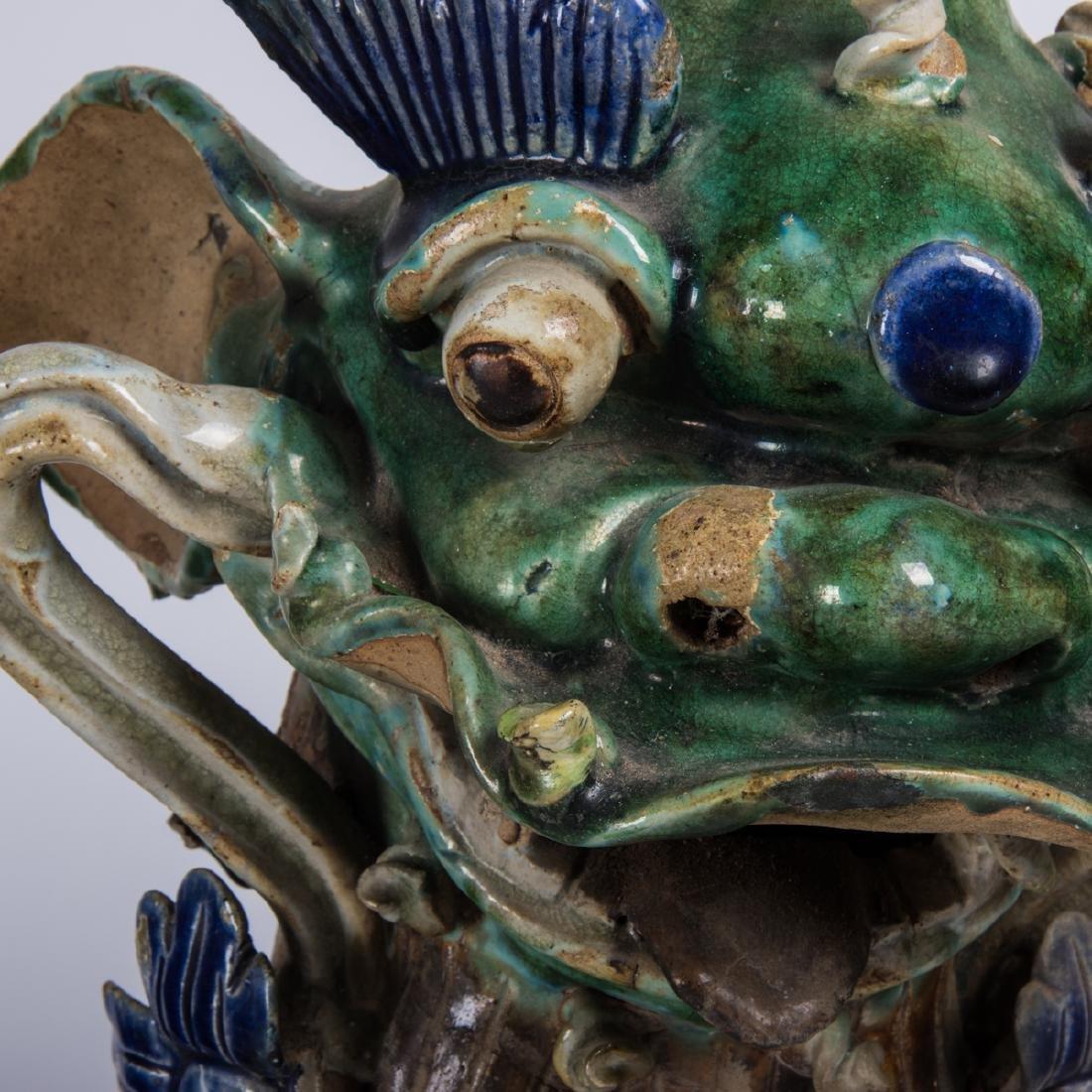 A Pair of Chinese Sancai Glaze Stoneware Foo Dog Roof - 2