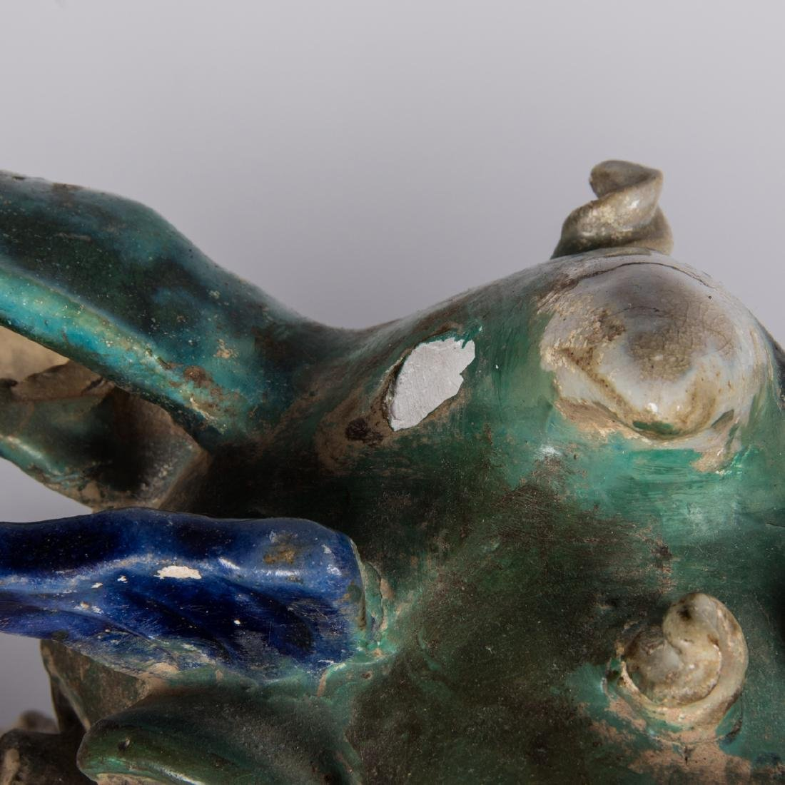 A Pair of Chinese Sancai Glaze Stoneware Foo Dog Roof - 4