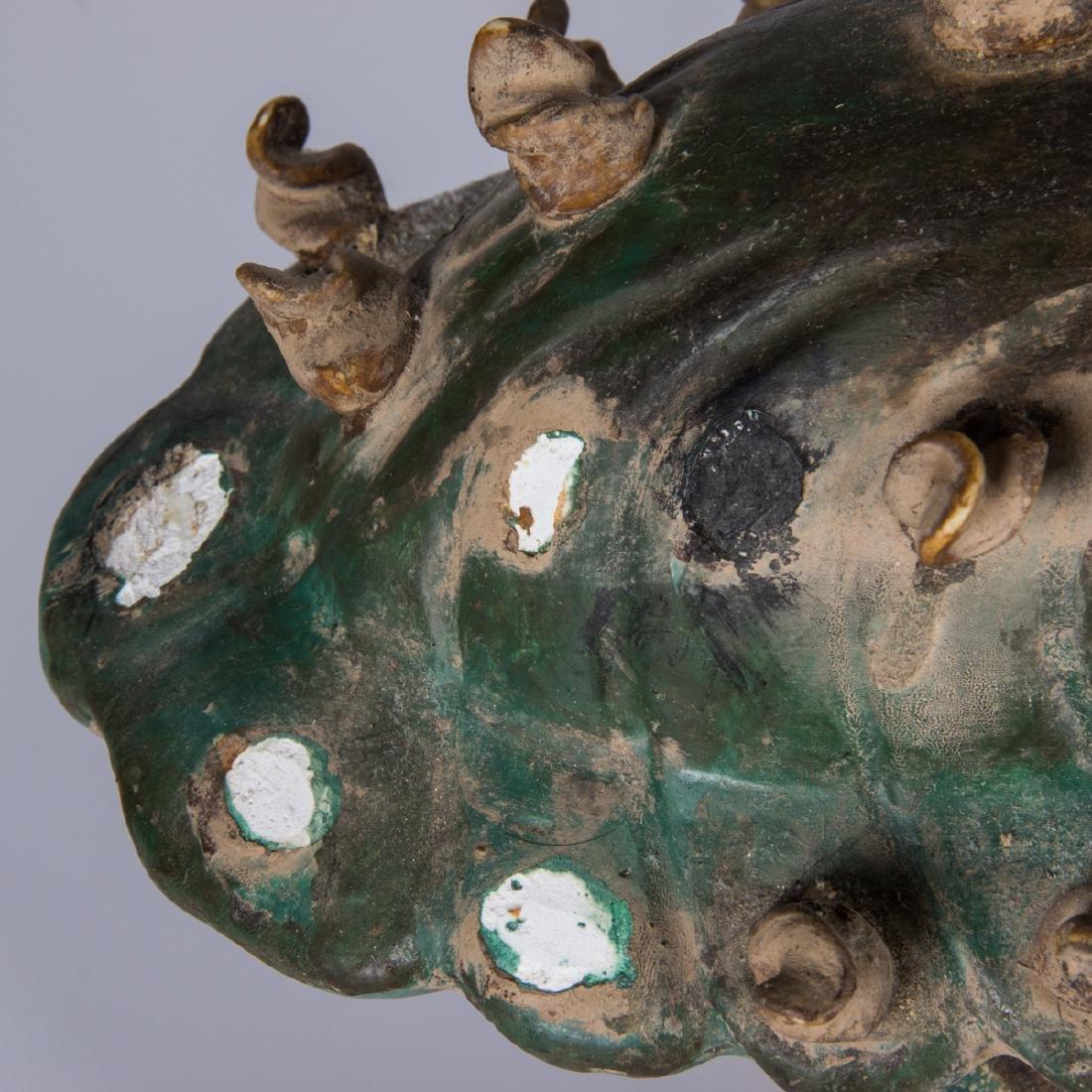 A Pair of Chinese Sancai Glaze Stoneware Foo Dog Roof - 5