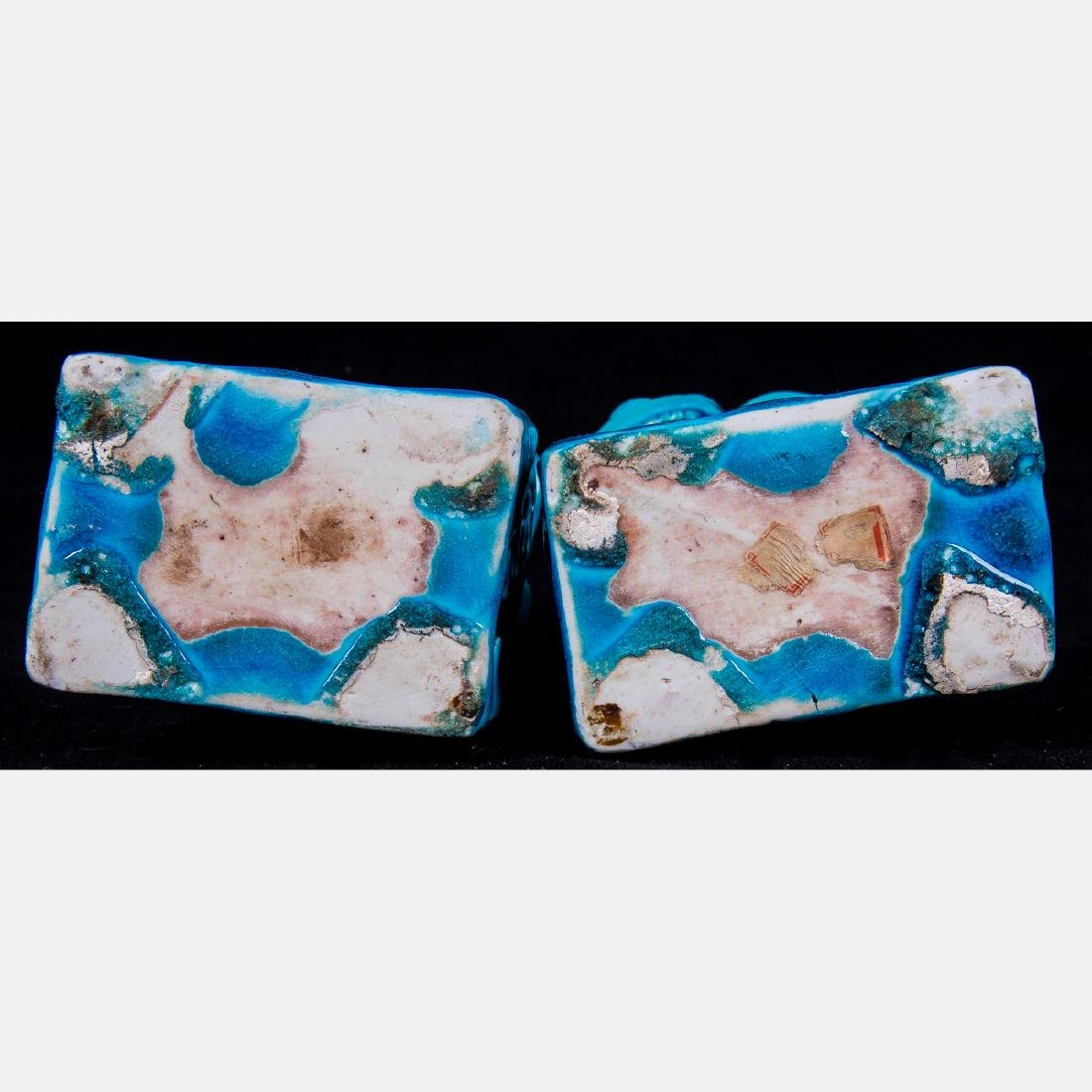 A Pair of Chinese Turquoise Glazed Porcelain Foo Dogs, - 2